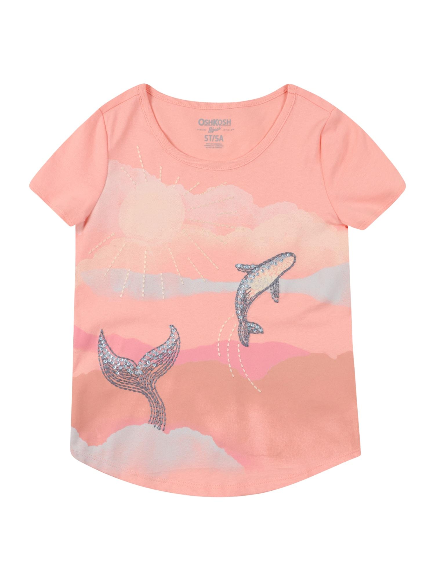 OshKosh Marškinėliai ryškiai rožinė spalva / melsvai pilka / smėlio / persikų spalva