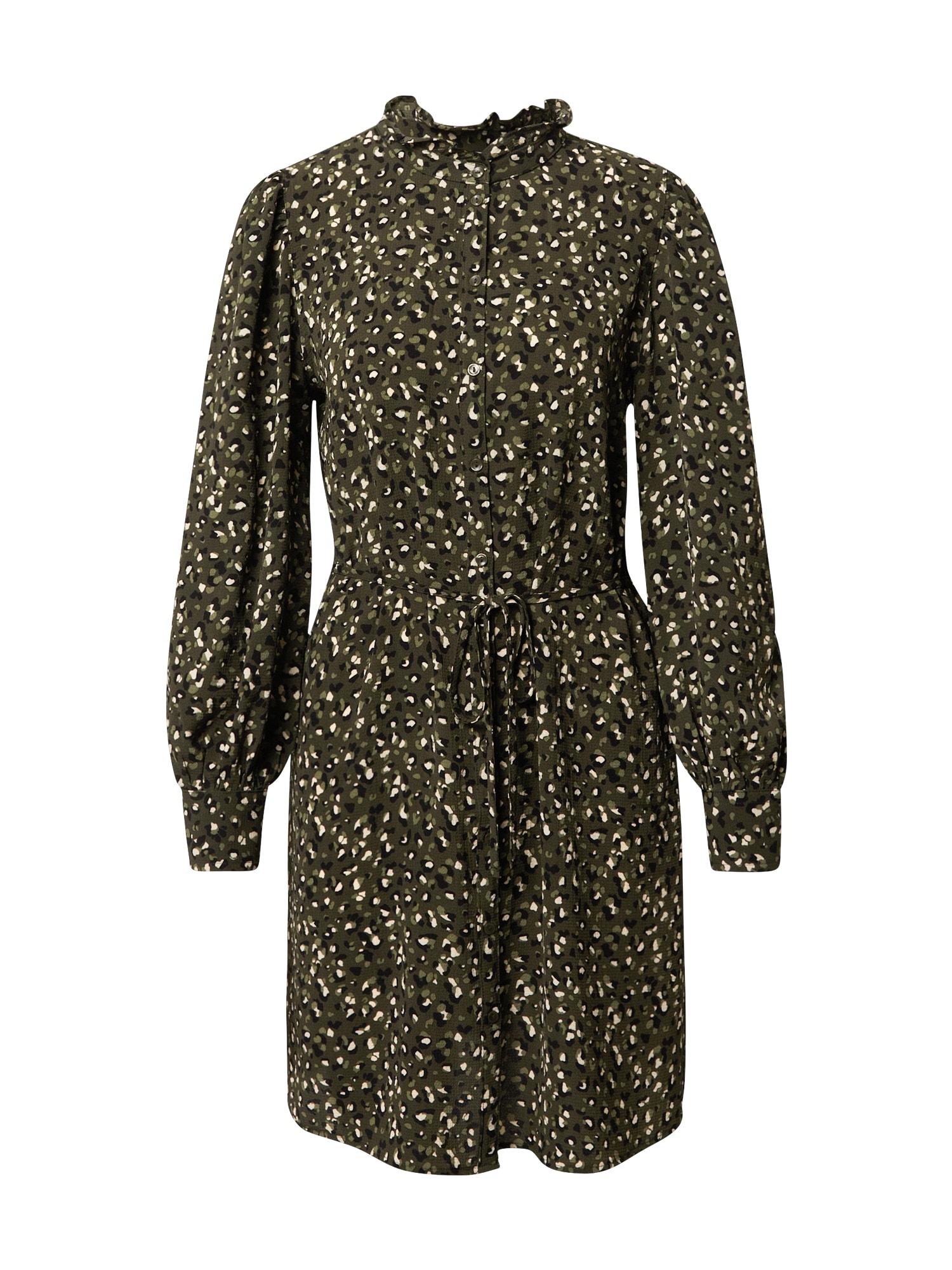 JACQUELINE de YONG Palaidinės tipo suknelė tamsiai žalia / balta / juoda / šviesiai žalia