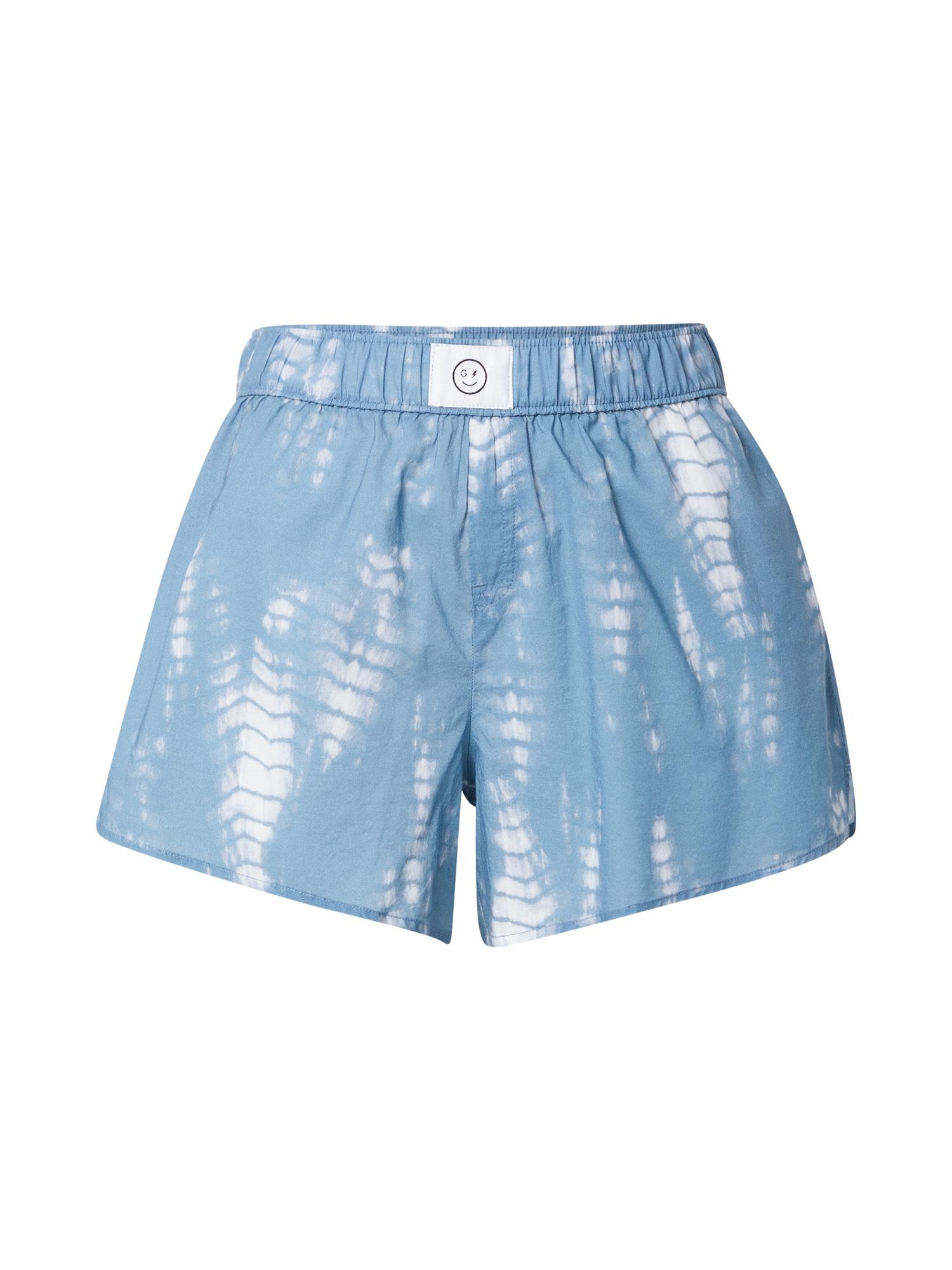 HOLLISTER Pyžamové nohavice  dymovo modrá / biela
