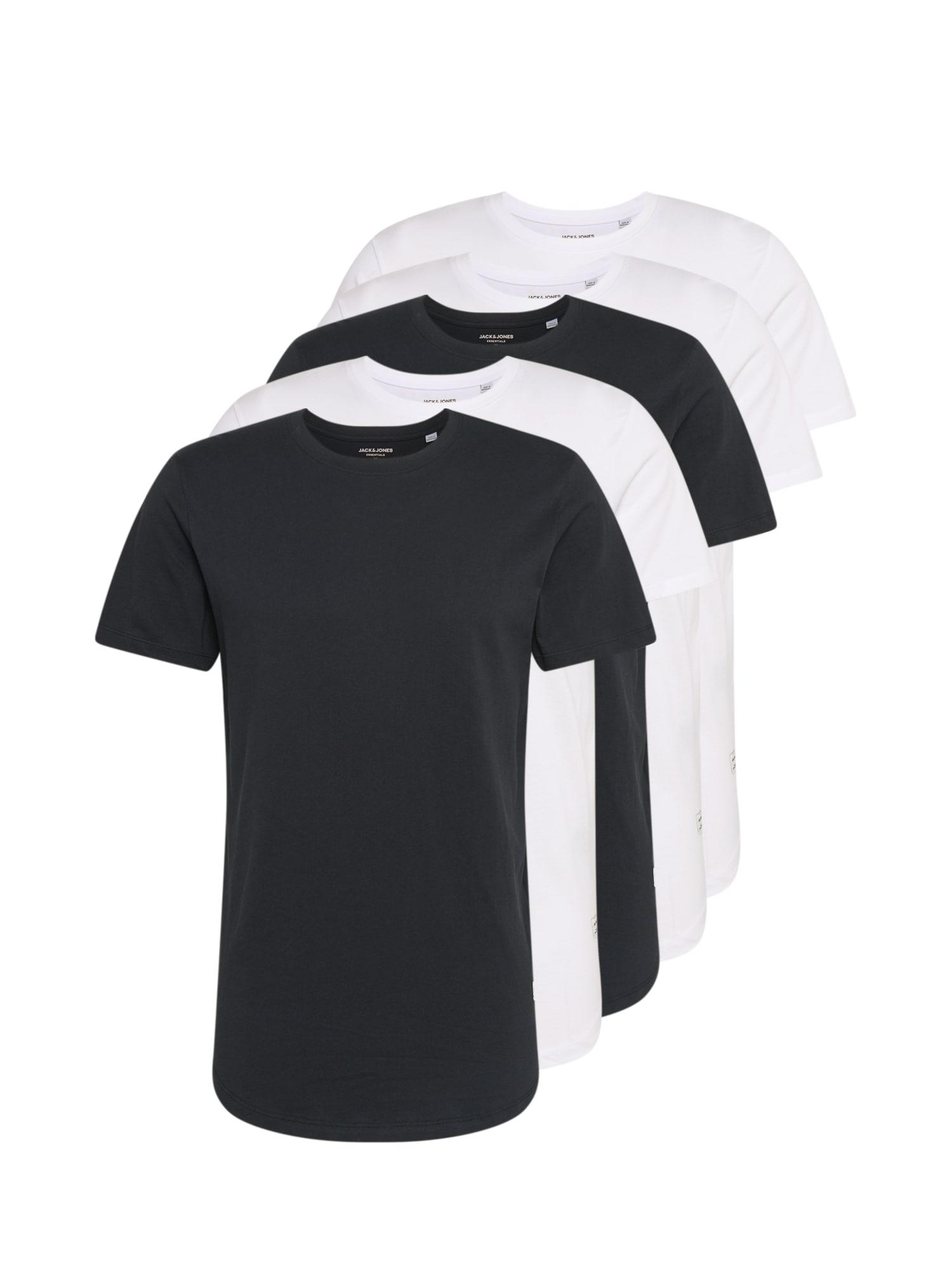 JACK & JONES Marškinėliai 'JJENOA TEE SS CREW NECK 5PK MP' juoda / balta