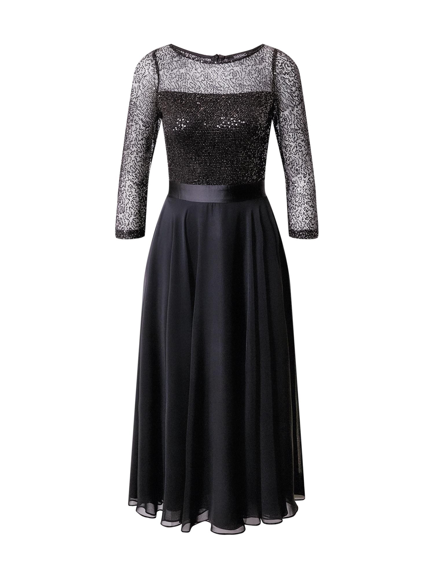 SWING Vakarinė suknelė juoda / sidabrinė