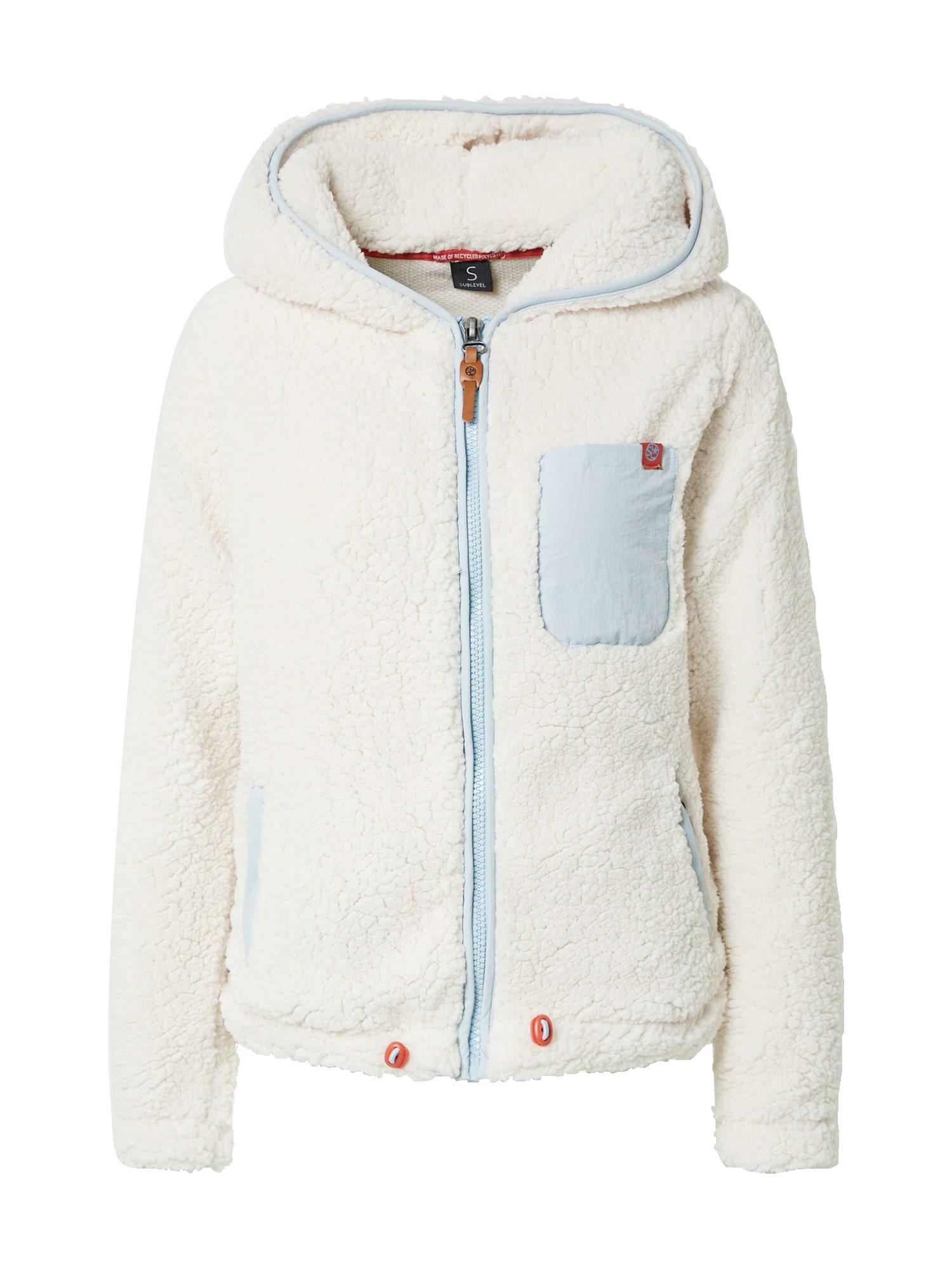 Sublevel Flisinis džemperis vilnos balta / šviesiai mėlyna