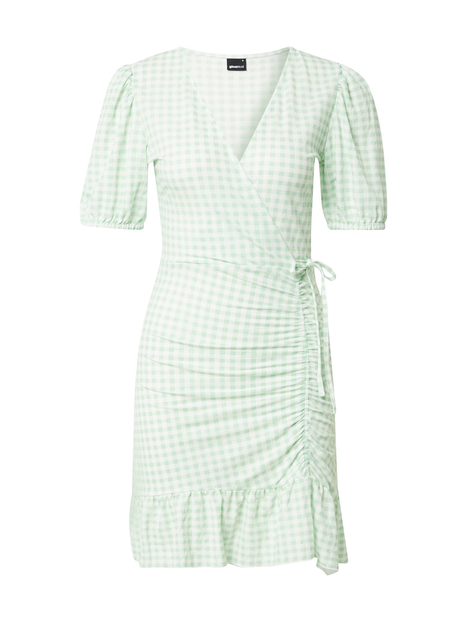 Gina Tricot Letní šaty 'Maya'  zelená / bílá