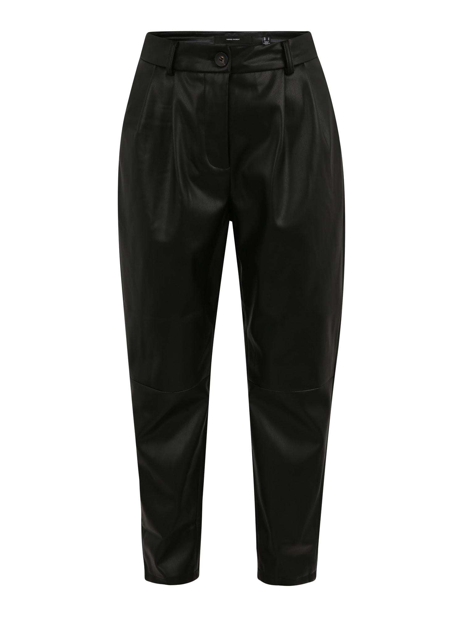 Vero Moda Petite Klostuotos kelnės juoda