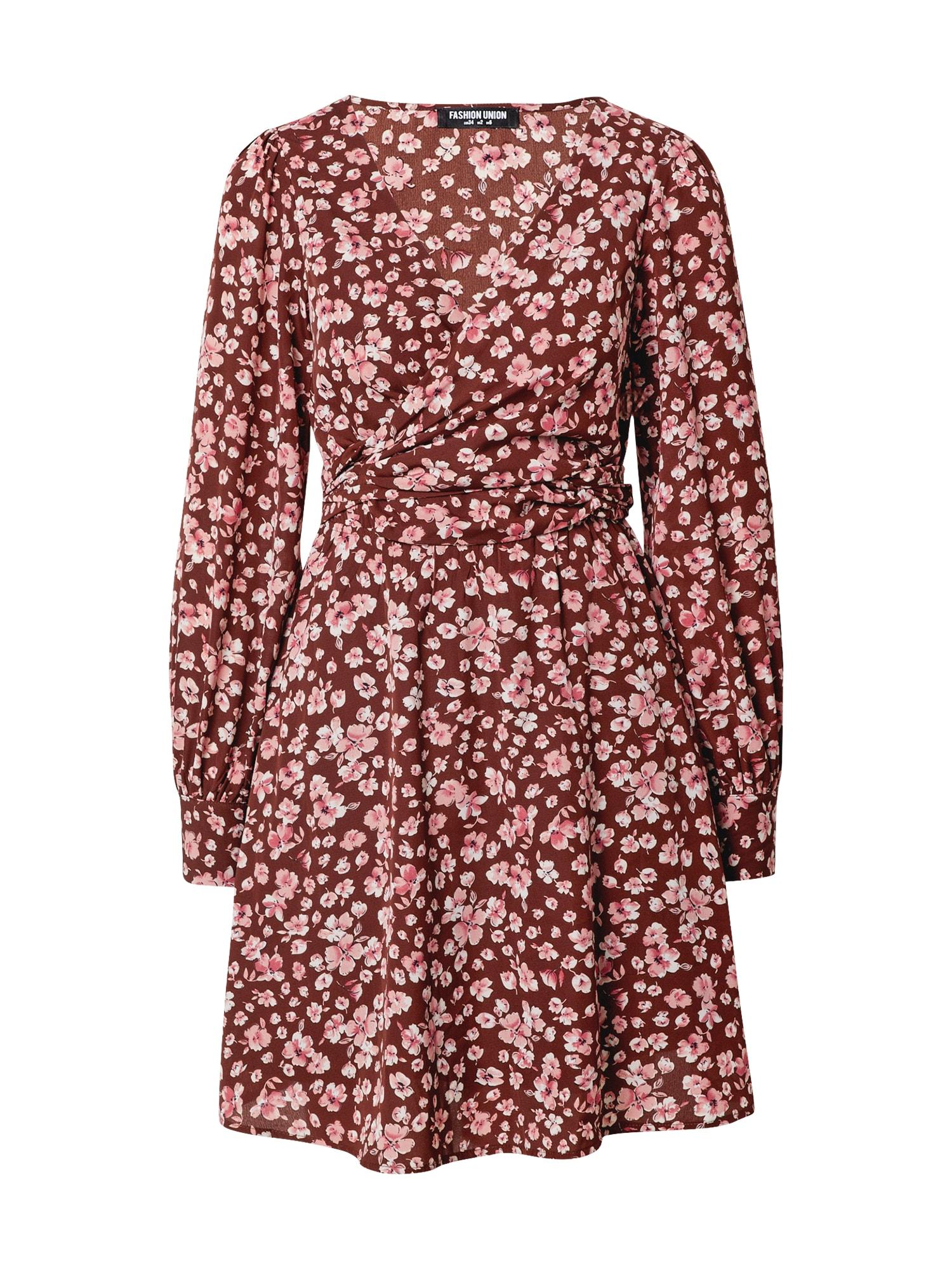 Fashion Union Suknelė rožinė / ruda / raudona