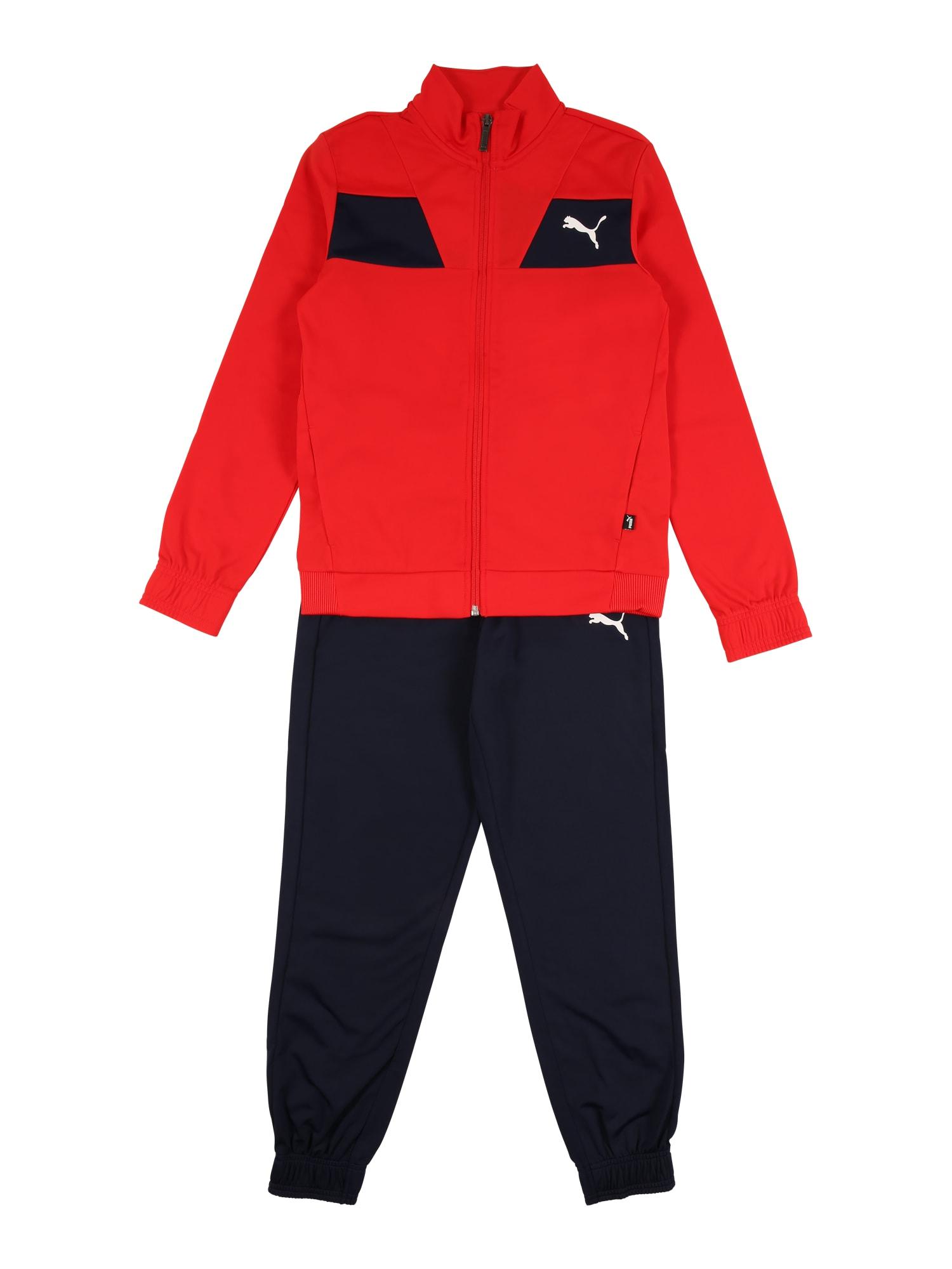 PUMA Tréningový komplet  námornícka modrá / čierna / červená