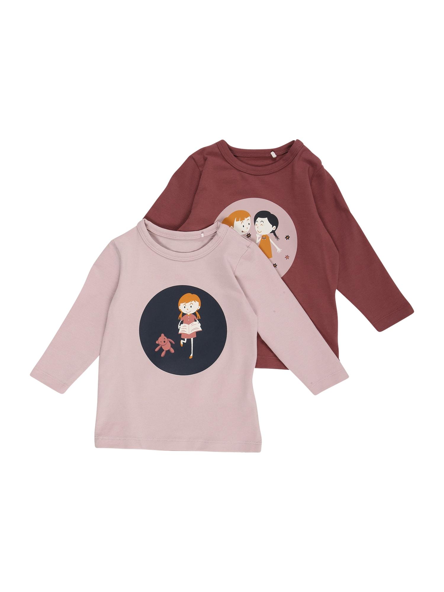 NAME IT Marškinėliai 'FRINAIA' šviesiai violetinė / purpurinė spalva / balta / medaus spalva