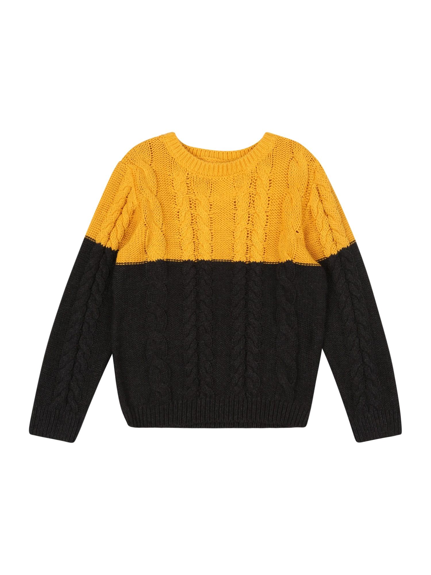 NAME IT Megztinis aukso geltonumo spalva / nakties mėlyna