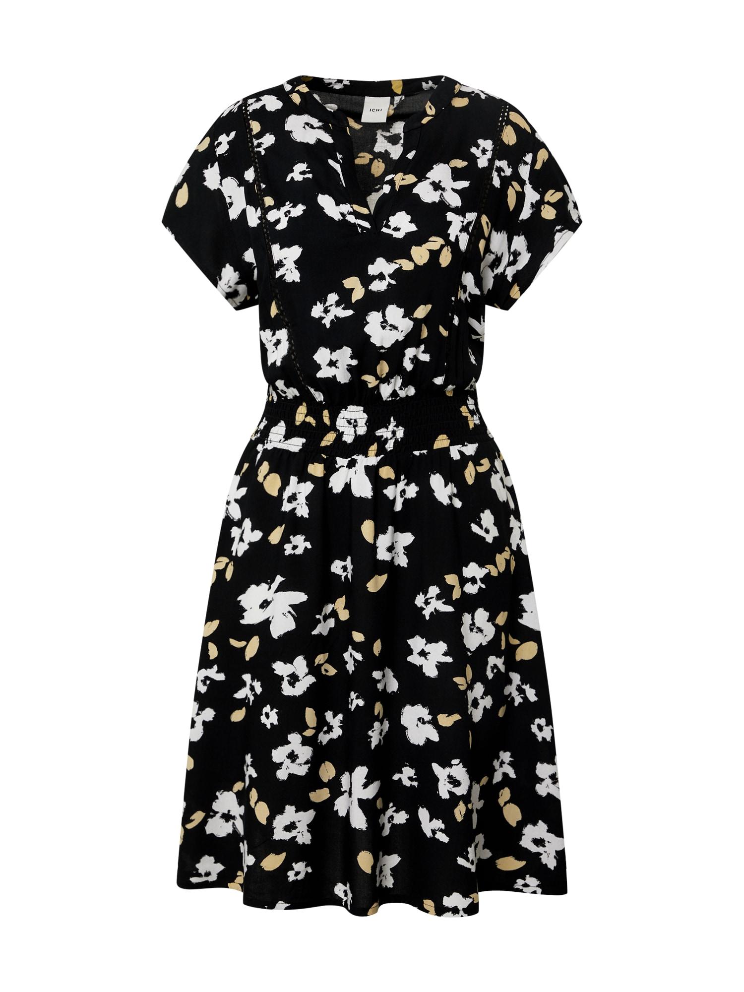 ICHI Šaty  černá / bílá / béžová