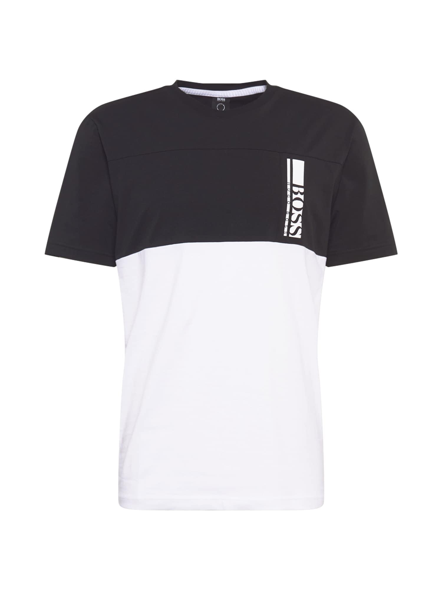BOSS ATHLEISURE Marškinėliai juoda / balta