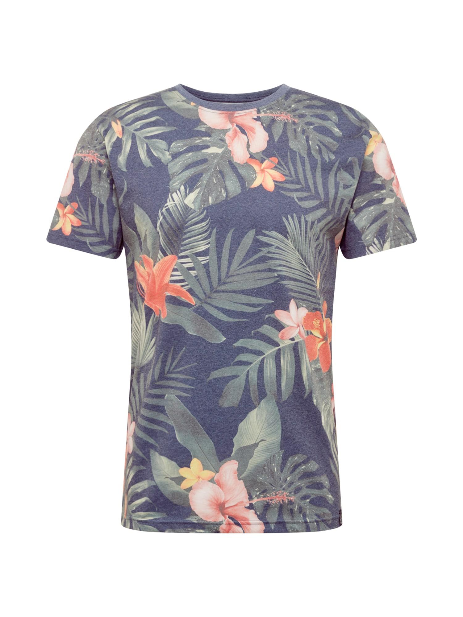 SHINE ORIGINAL Marškinėliai melsvai pilka / žolės žalia / rožių spalva / koralų splava