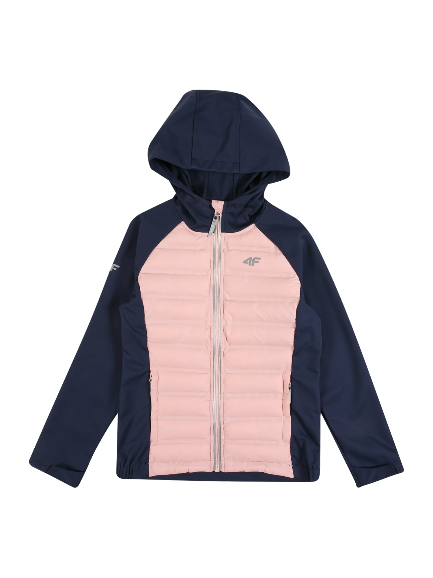 4F Laisvalaikio striukė ryškiai rožinė spalva / tamsiai mėlyna