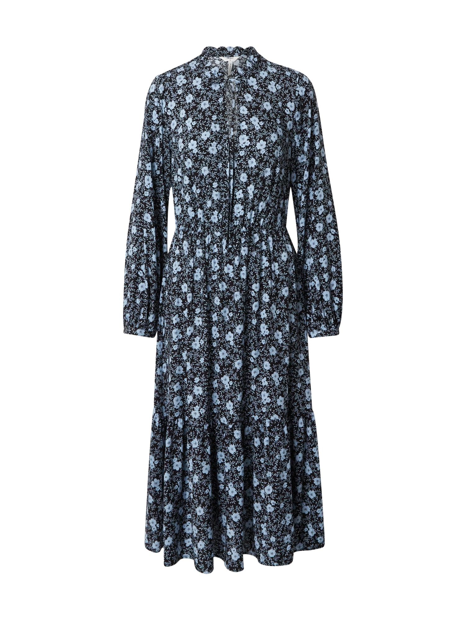 OBJECT Košilové šaty 'Giri'  černá / světlemodrá