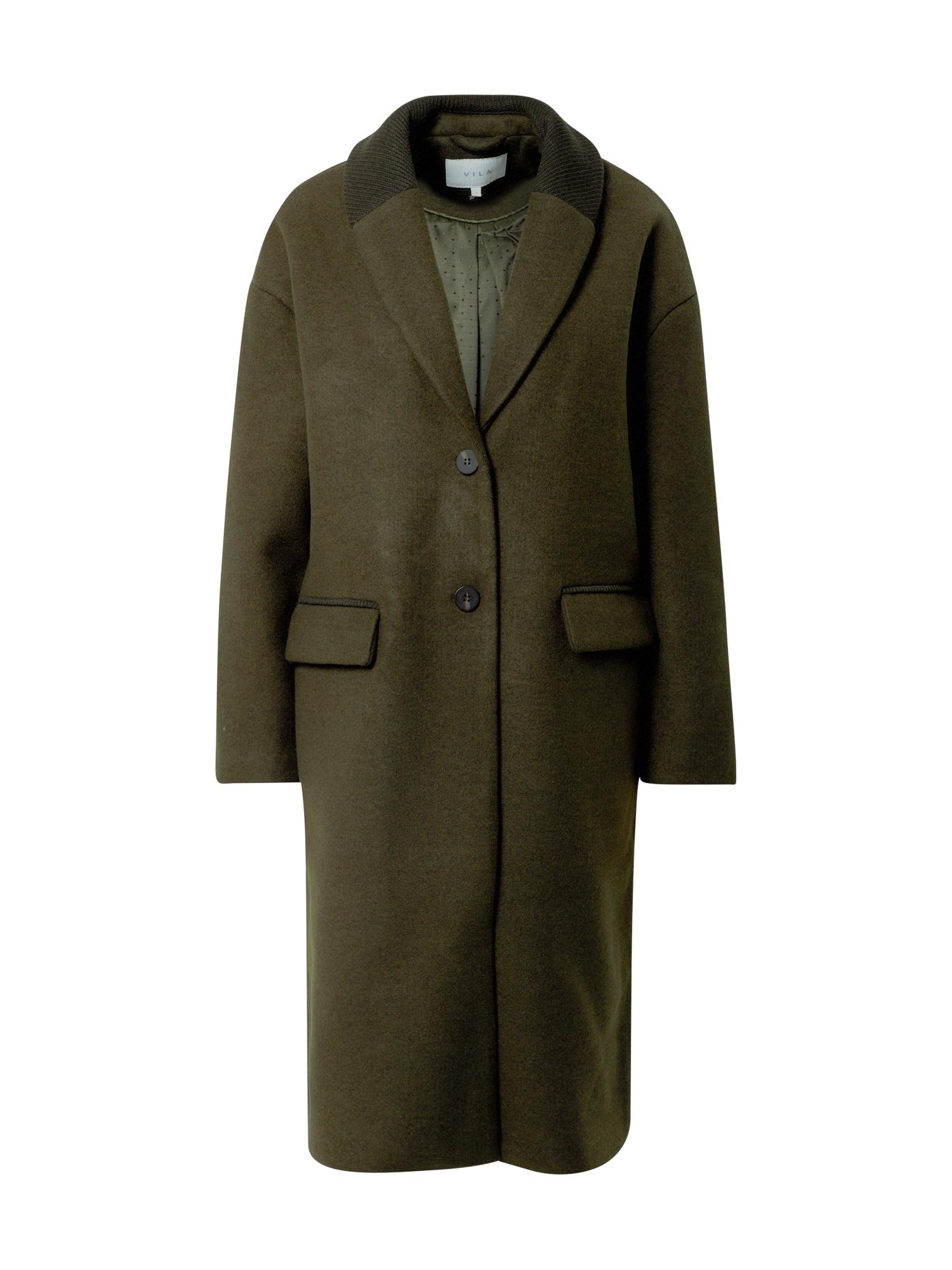 VILA Demisezoninis paltas tamsiai žalia