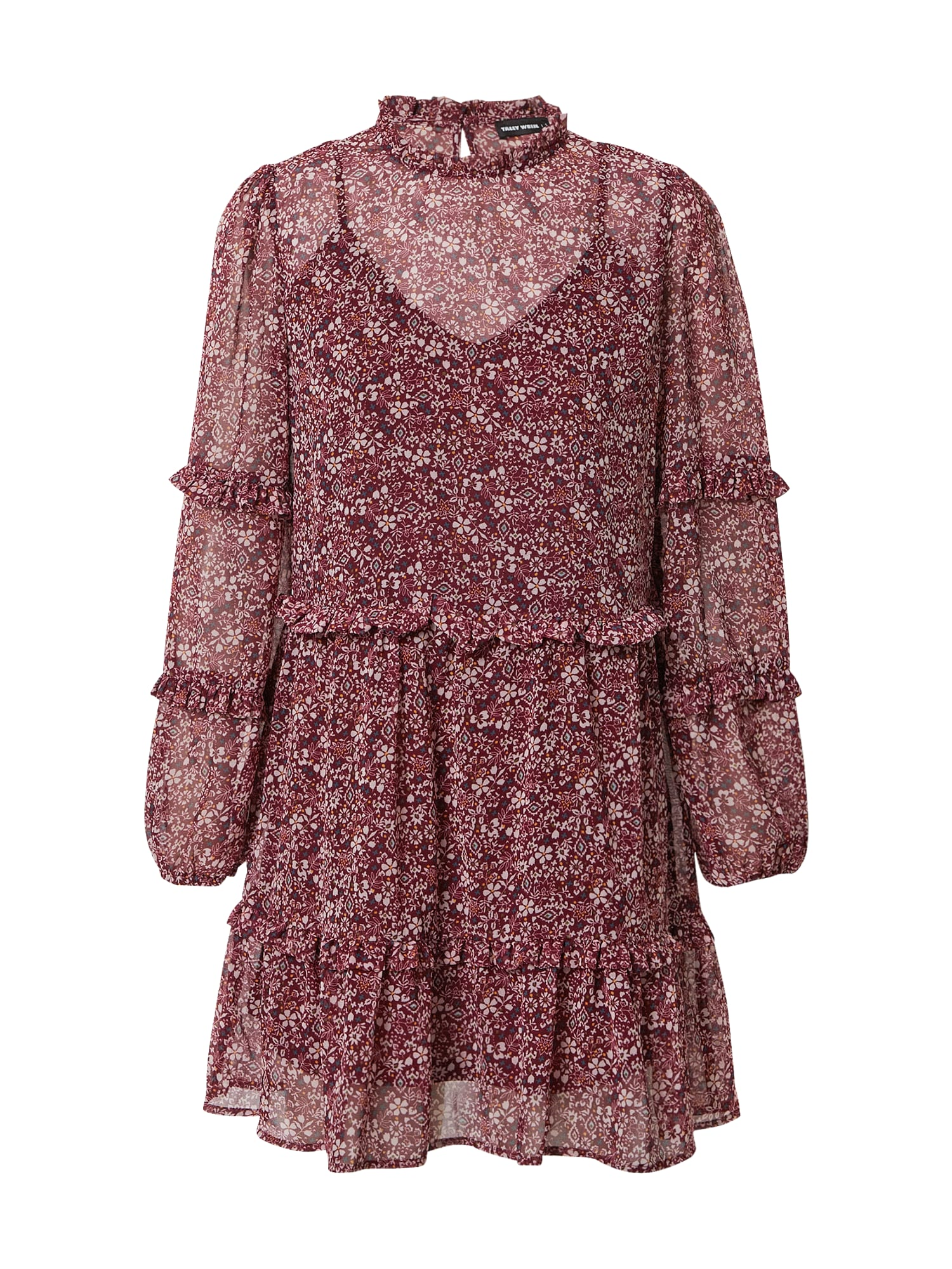 Tally Weijl Palaidinės tipo suknelė vyno raudona spalva / balta / dangaus žydra / oranžinė