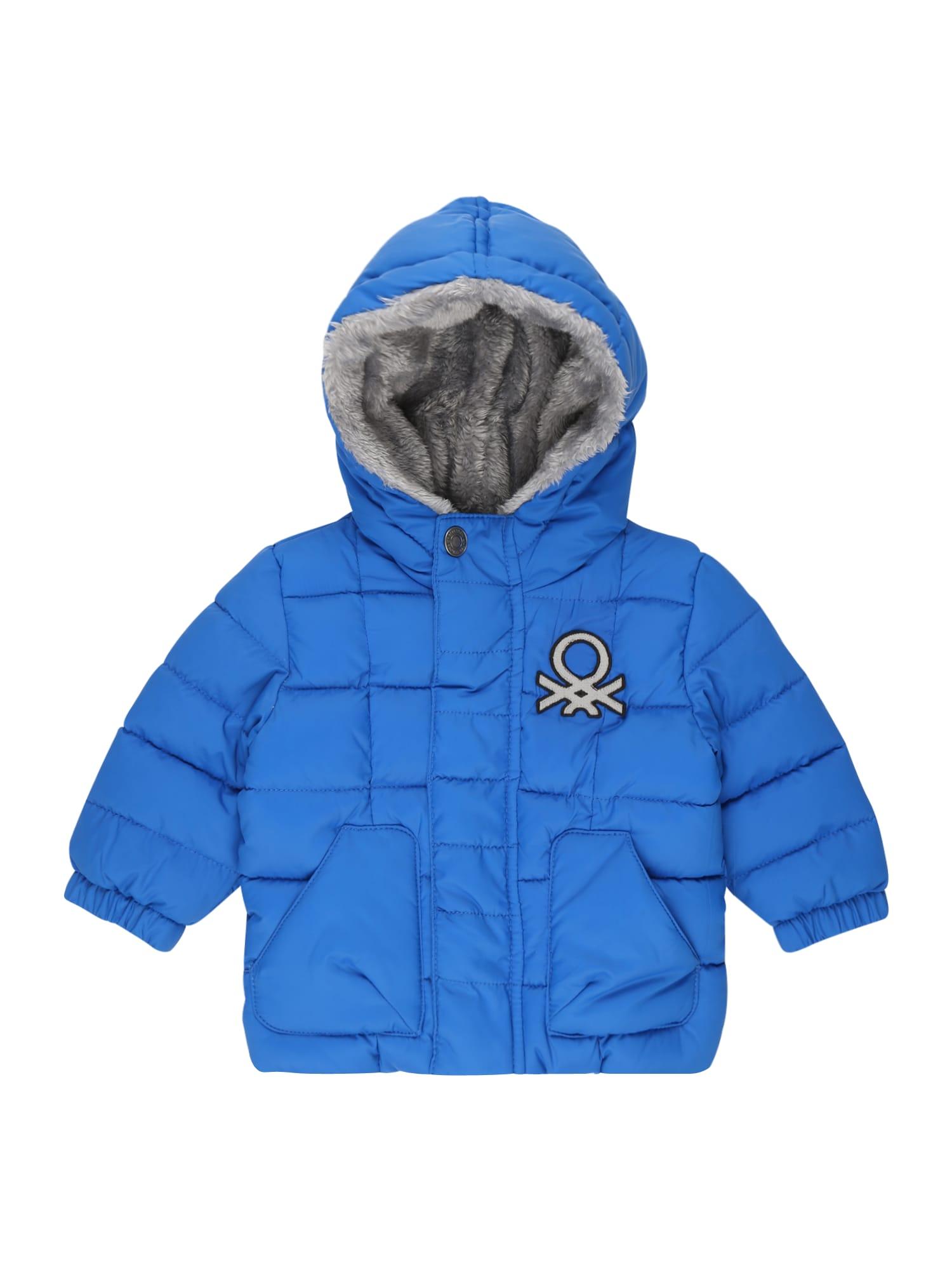 UNITED COLORS OF BENETTON Žieminė striukė mėlyna / sidabras / juoda