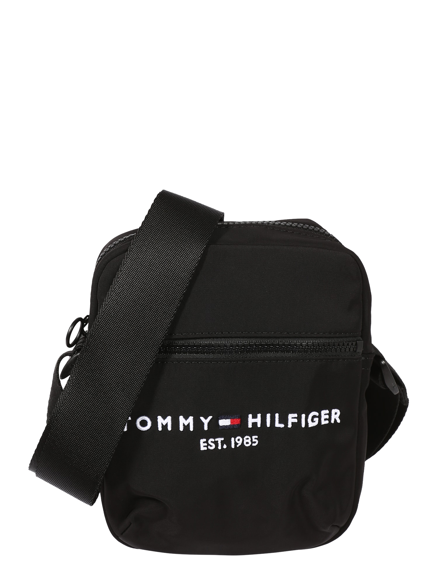 TOMMY HILFIGER Rankinė su ilgu dirželiu 'REPORTER' juoda / balta / šviesiai raudona