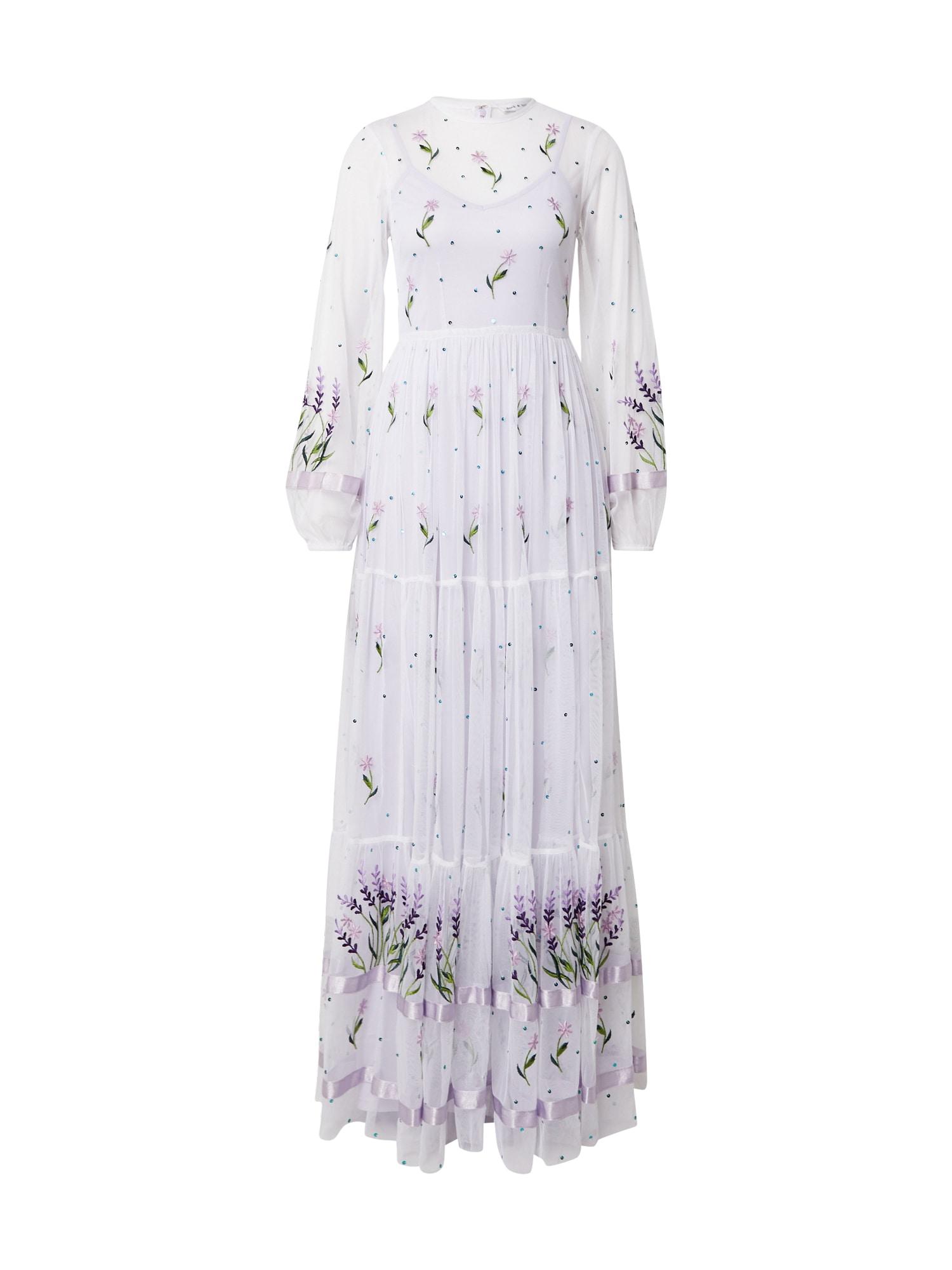Frock and Frill Vakarinė suknelė balta / žalia / alyvinė spalva