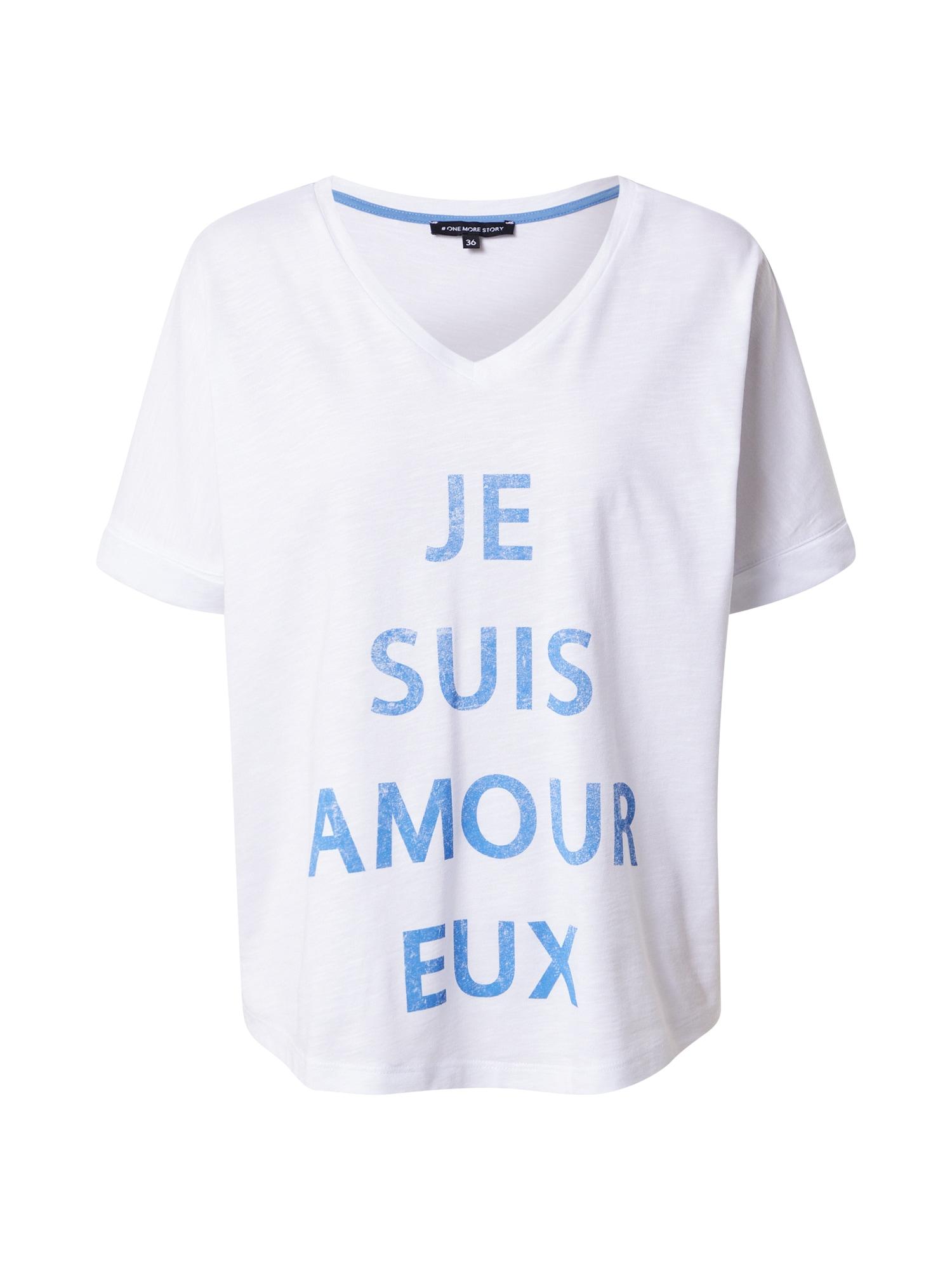 ONE MORE STORY Marškinėliai balkšva / mėlyna dūmų spalva