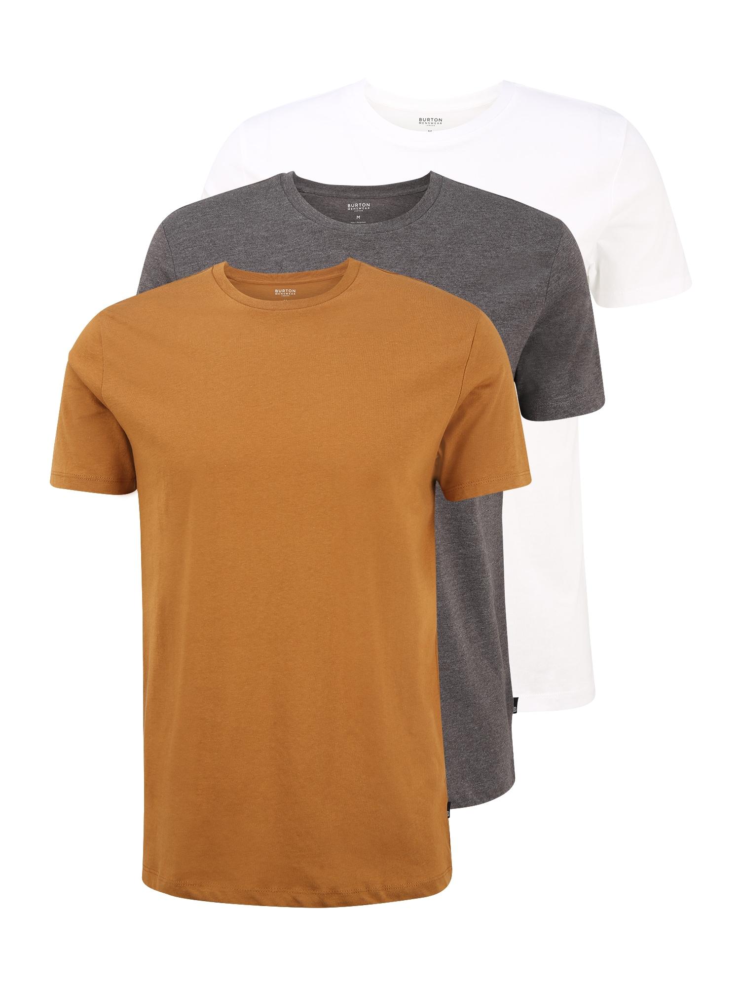 BURTON MENSWEAR LONDON Apatiniai marškinėliai pilka / balta / ruda (konjako)