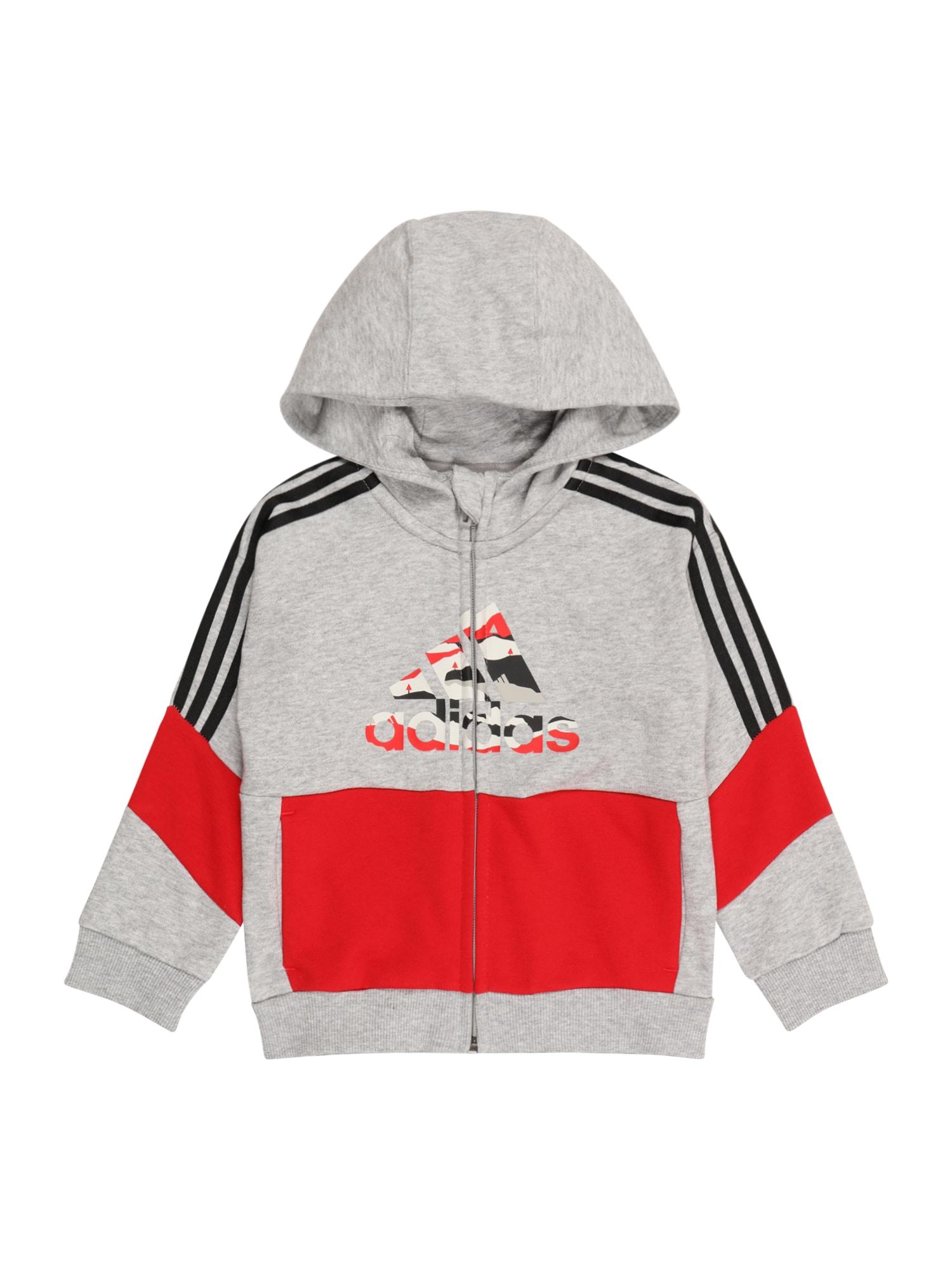 ADIDAS PERFORMANCE Sportinis džemperis margai pilka / raudona / juoda