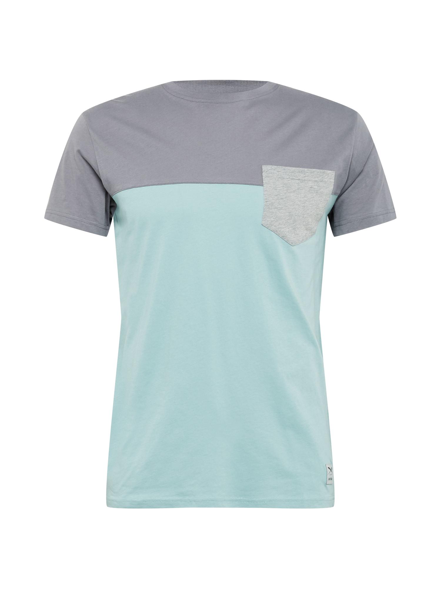 Iriedaily Marškinėliai šviesiai pilka / tamsiai pilka / turkio spalva