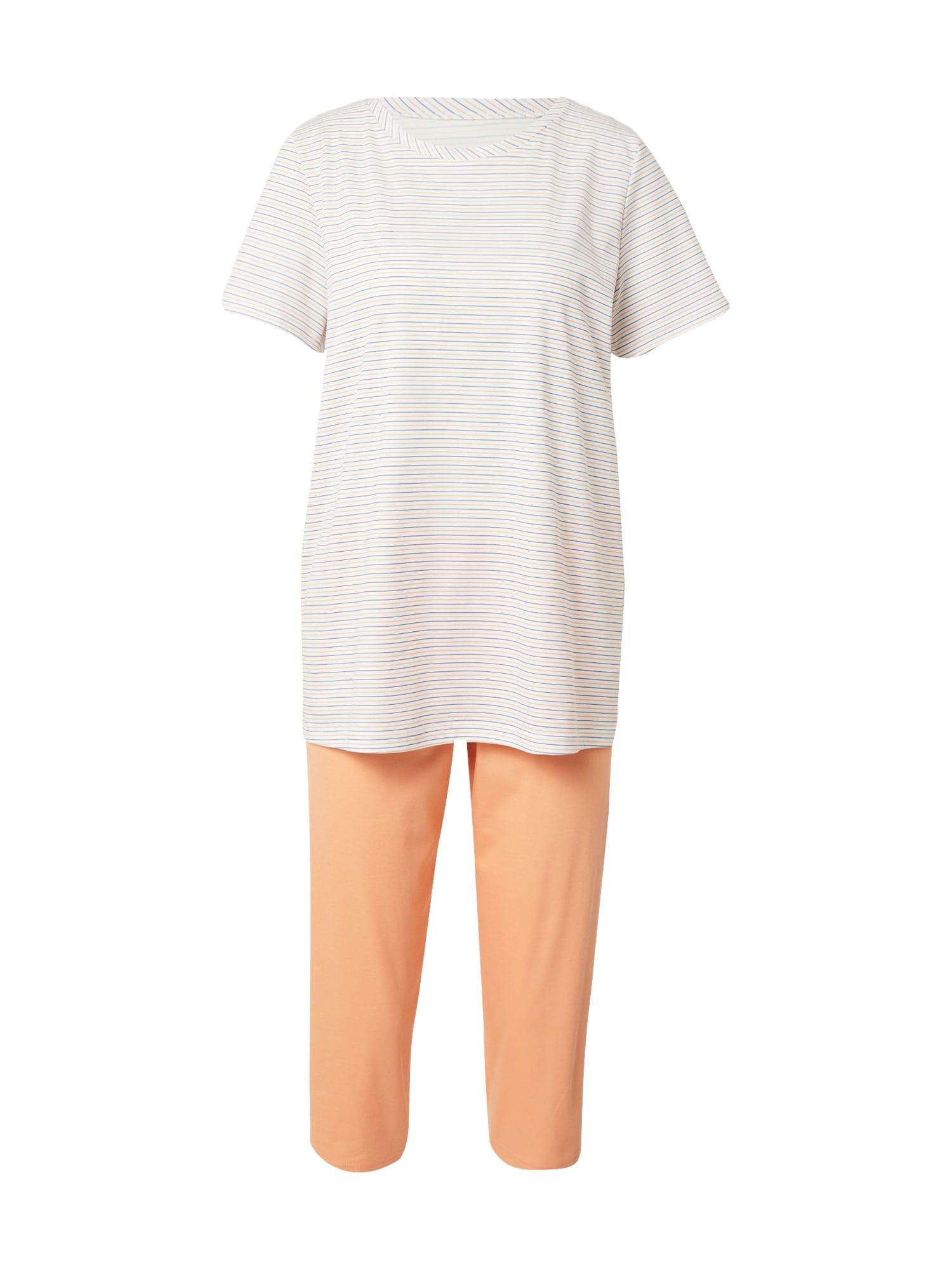CALIDA Pyžamo  oranžová / bílá / chladná modrá