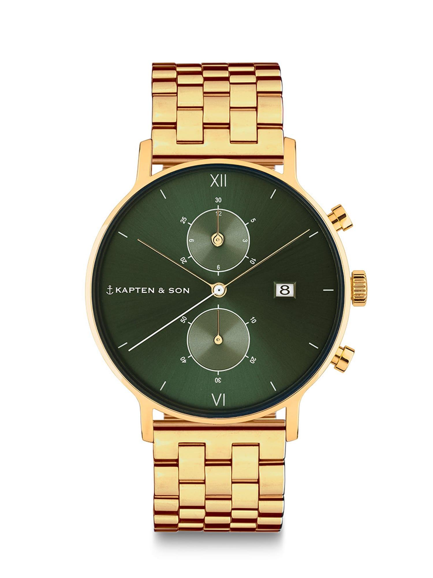 Kapten & Son Analoginis (įprasto dizaino) laikrodis auksas / žalia