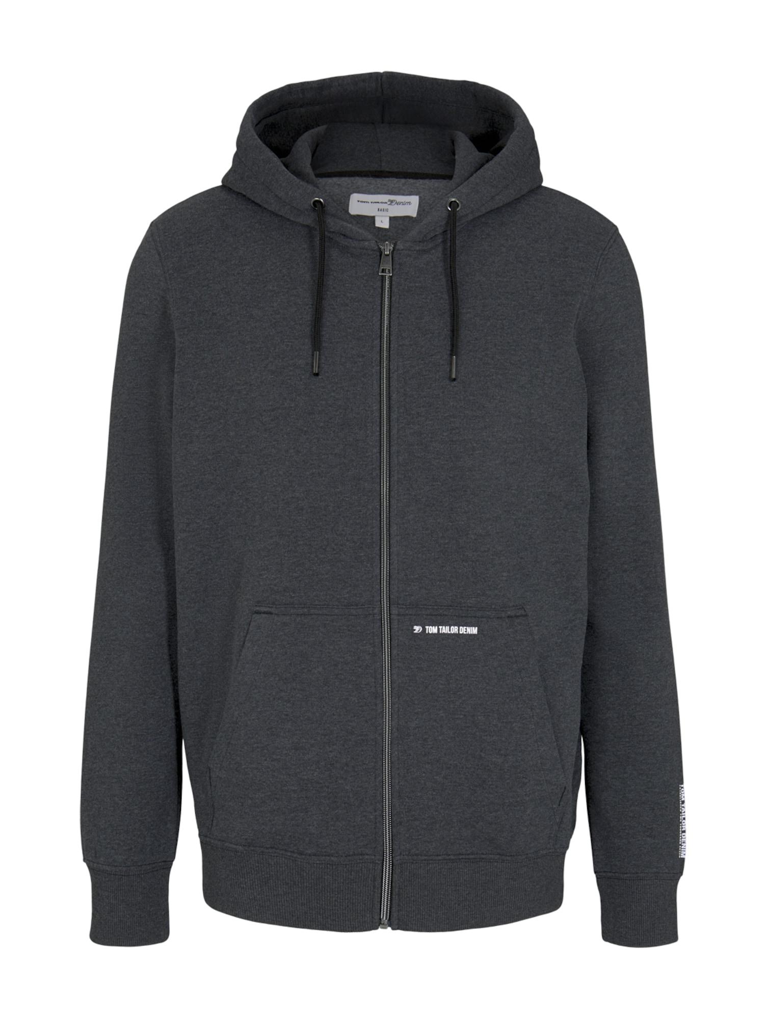 TOM TAILOR DENIM Džemperis margai juoda
