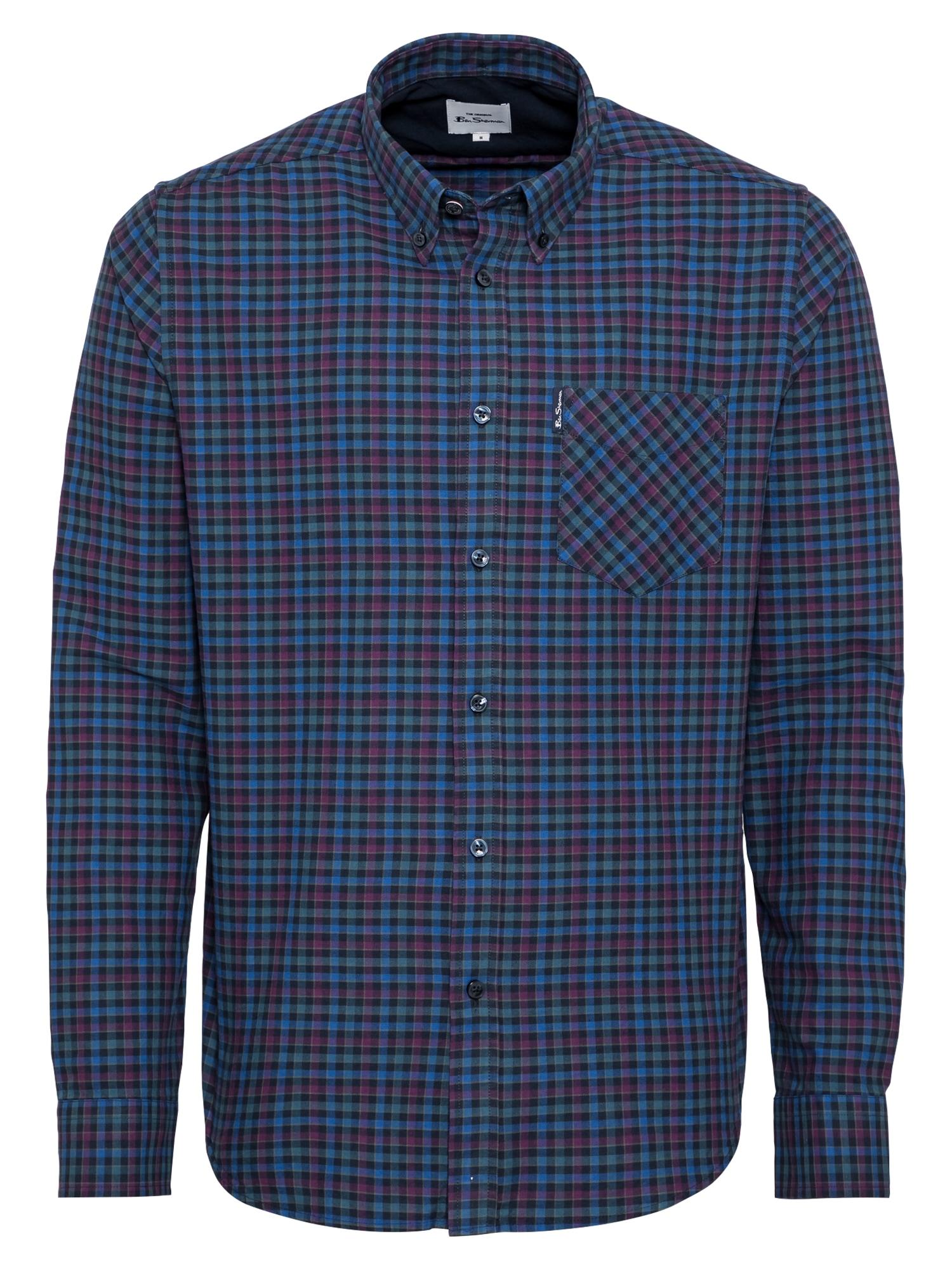 Ben Sherman Dalykinio stiliaus marškiniai tamsiai mėlyna / mėlyna / rožinė