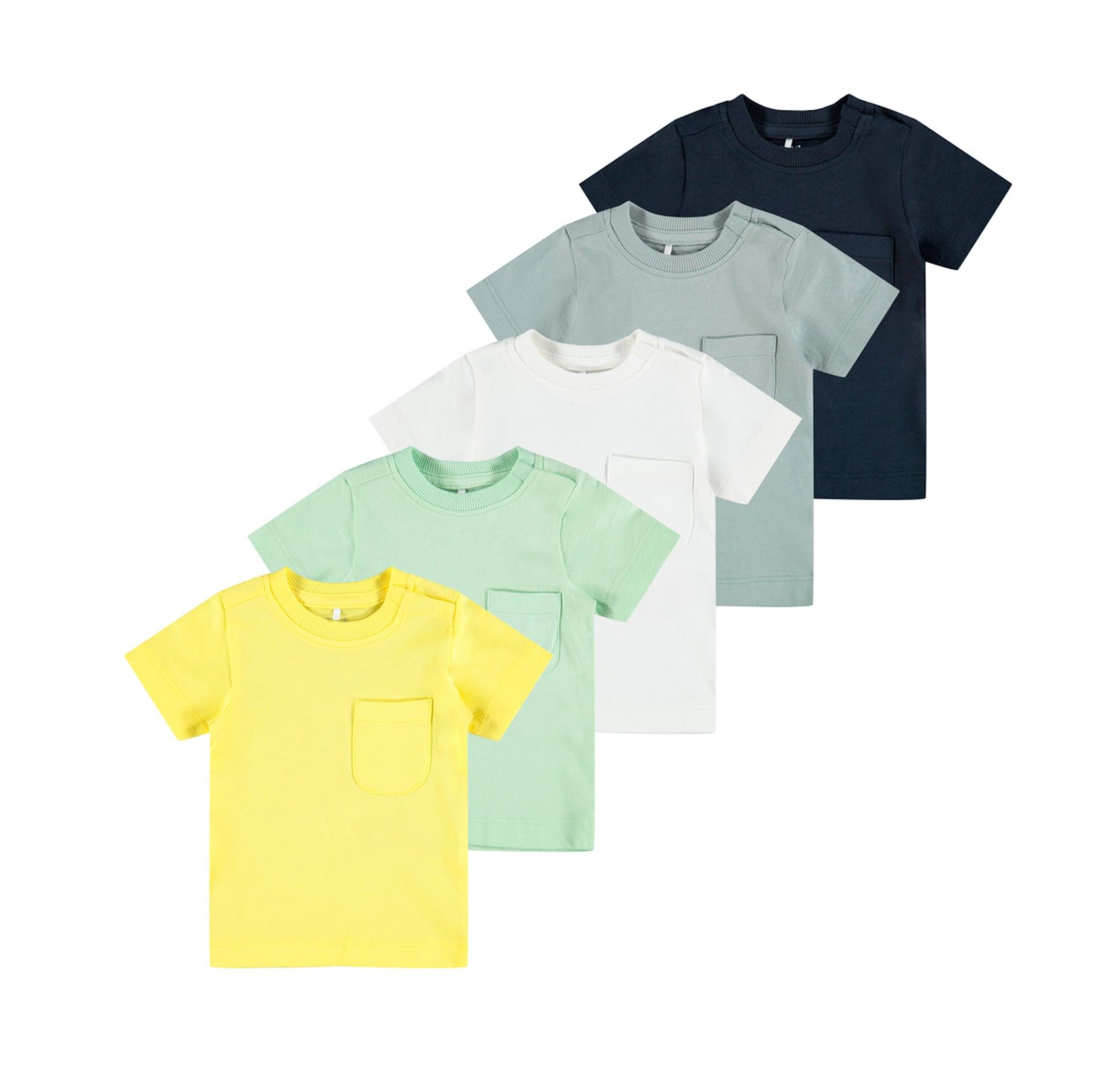 NAME IT Marškinėliai mėlyna / balta / geltona / nefrito spalva / mėtų spalva
