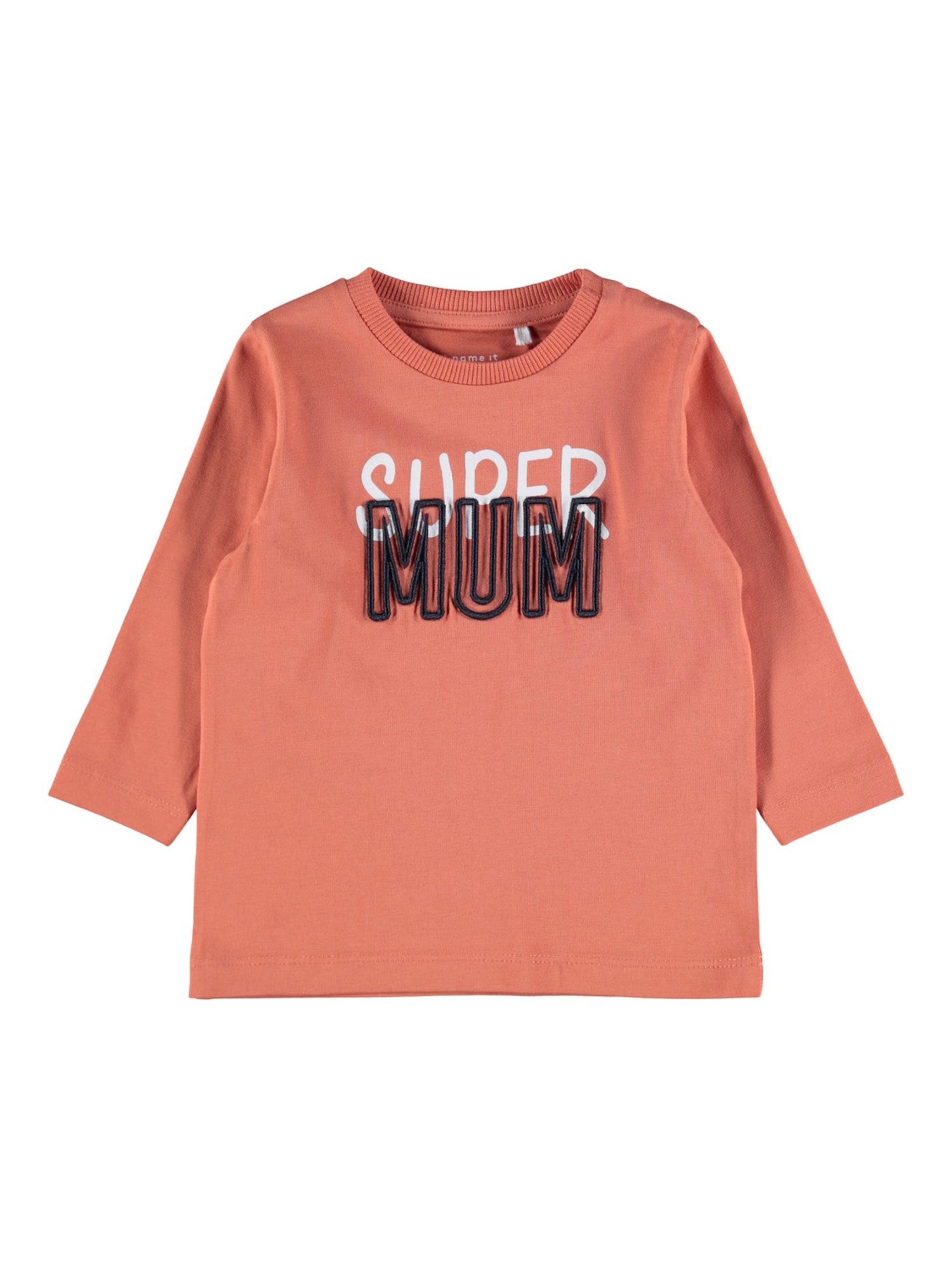 NAME IT Marškinėliai 'Dironne' persikų spalva / balta / tamsiai mėlyna