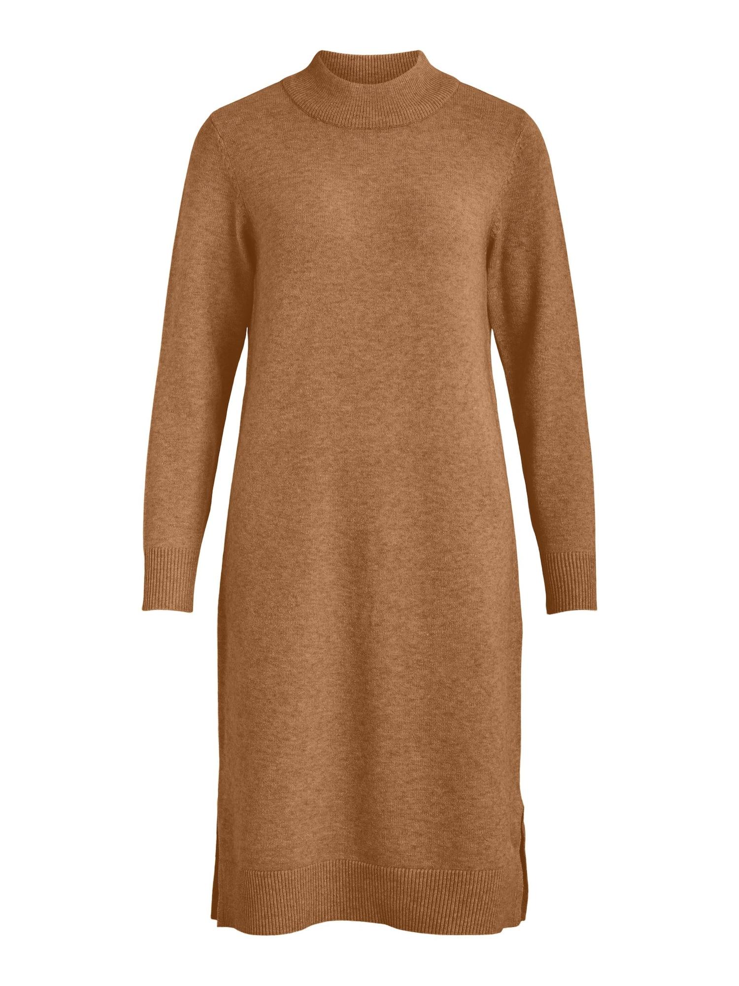 VILA Úpletové šaty 'Ril'  světle hnědá