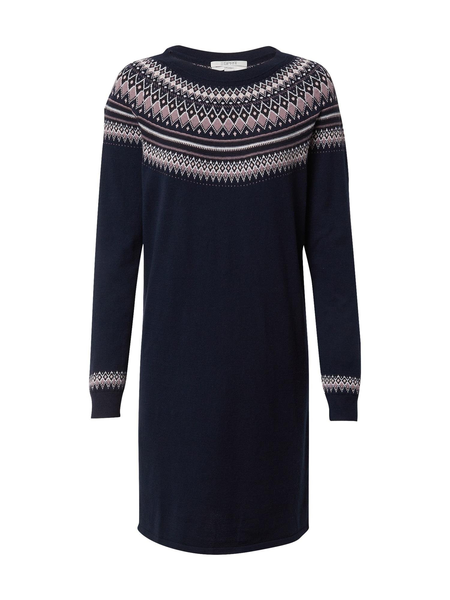ESPRIT Úpletové šaty  námořnická modř / mix barev