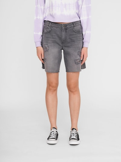 Noisy May Lucky Longboarder Distressed Denim Shorts Washed Schwarz