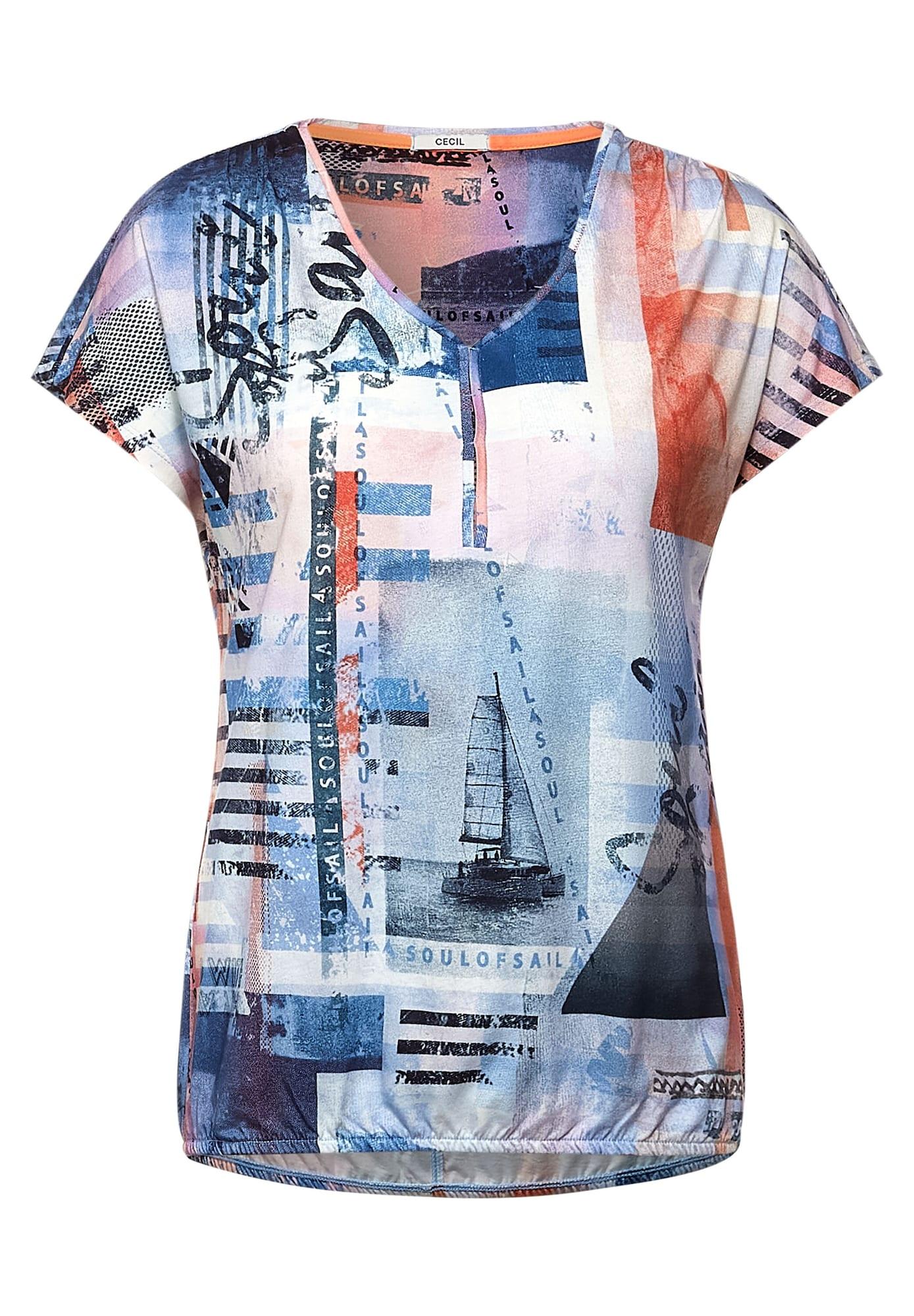 CECIL Marškinėliai mėlyna / mišrios spalvos
