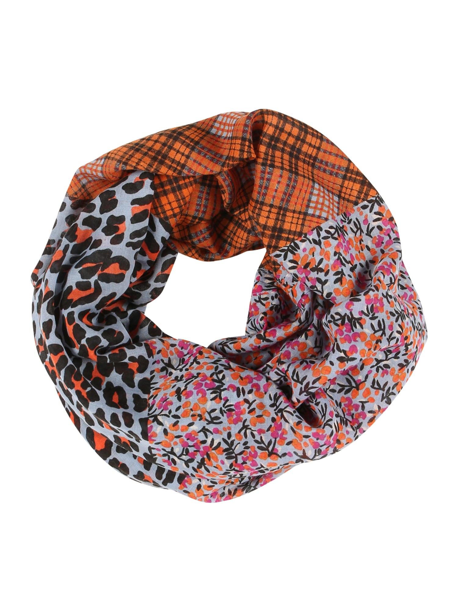 ESPRIT Kruhová šála  pastelová modrá / rezavě hnědá / černá / oranžová / pink