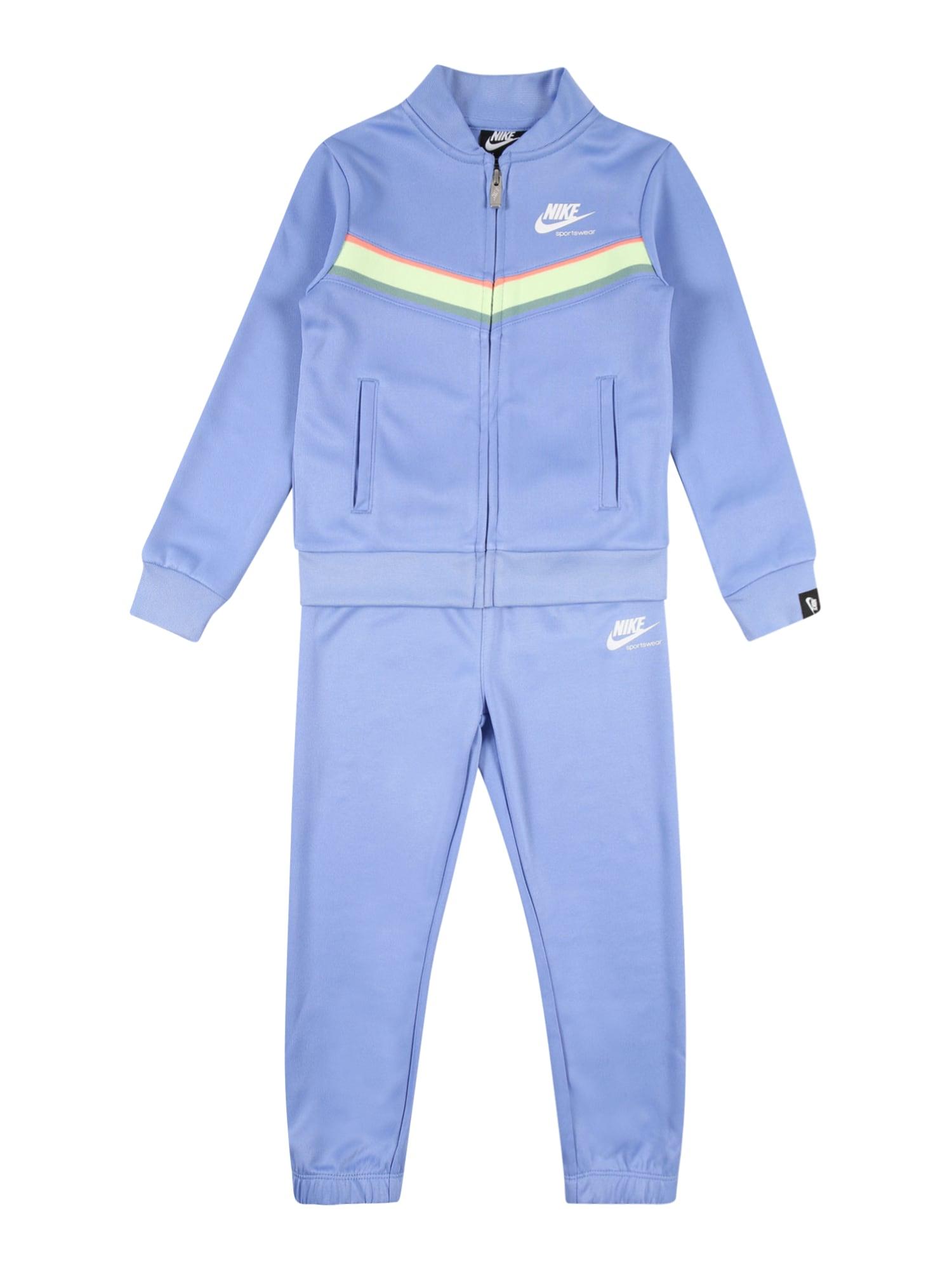 Nike Sportswear Treningas 'HERITAGE' mėlyna dūmų spalva / mėtų spalva / žolės žalia / koralų splava