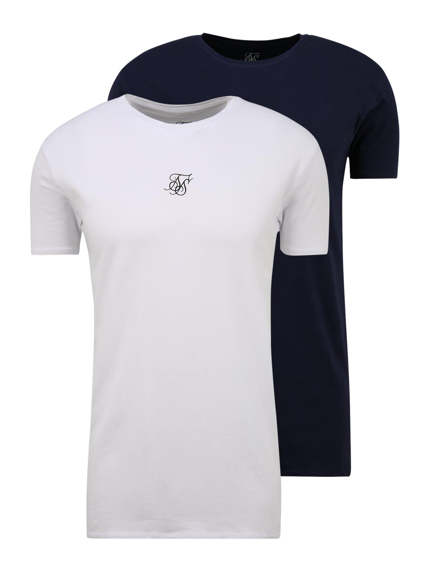 SikSilk Marškinėliai balta / tamsiai mėlyna / juoda