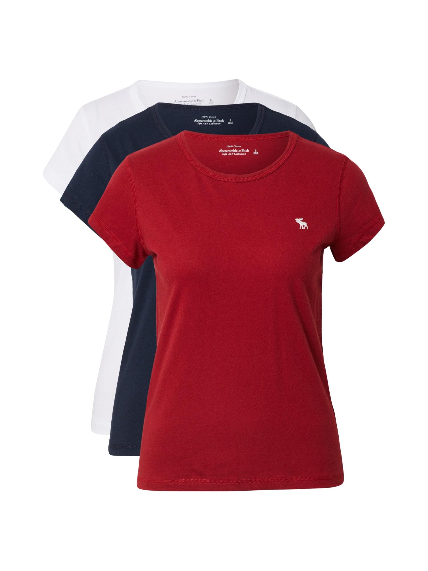 Abercrombie & Fitch Marškinėliai raudona / balta / tamsiai mėlyna