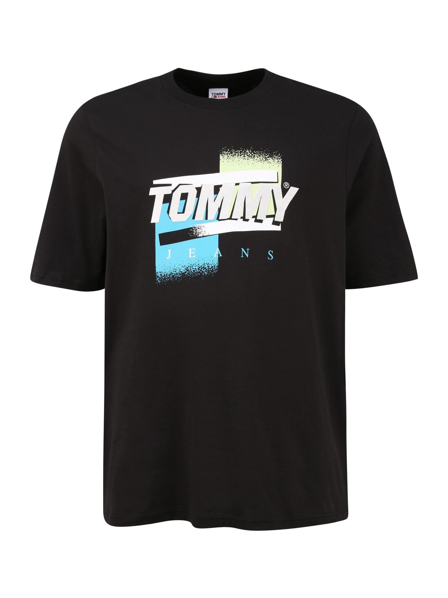 Tommy Jeans Plus Marškinėliai juoda / balta / turkio spalva / šviesiai geltona