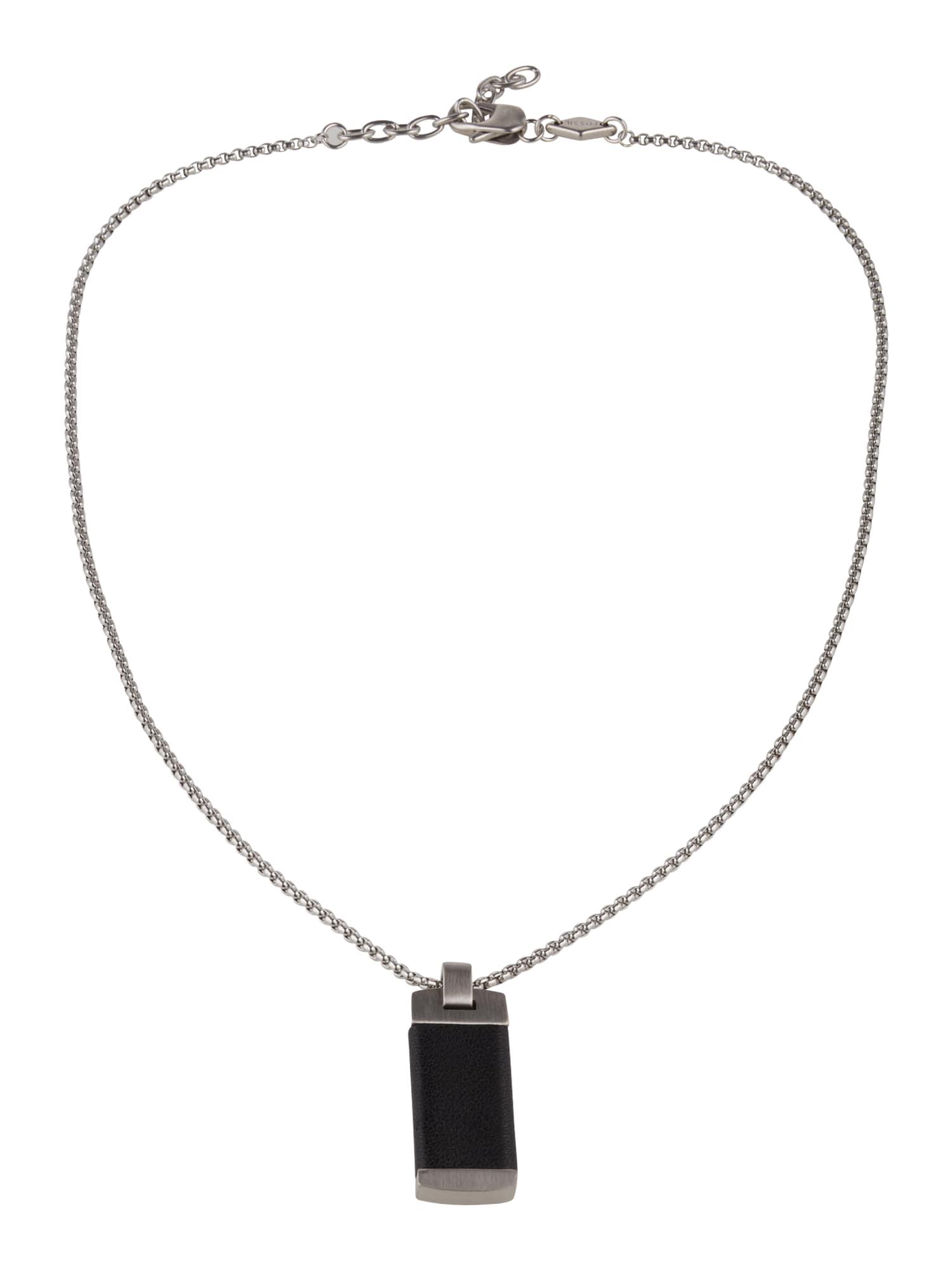 FOSSIL Grandinėlė sidabrinė / juoda