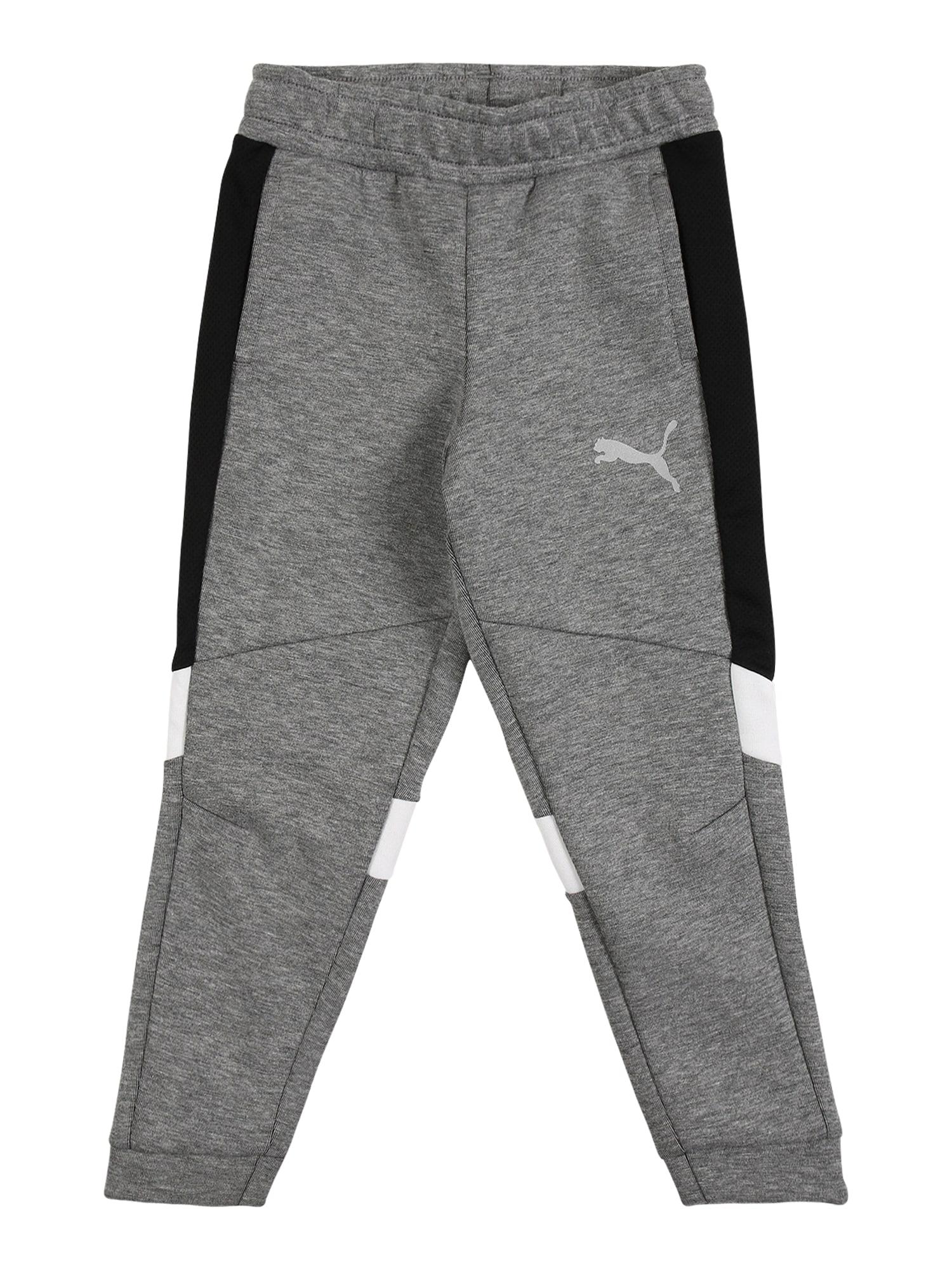 PUMA Sportovní kalhoty  šedý melír / bílá / černá
