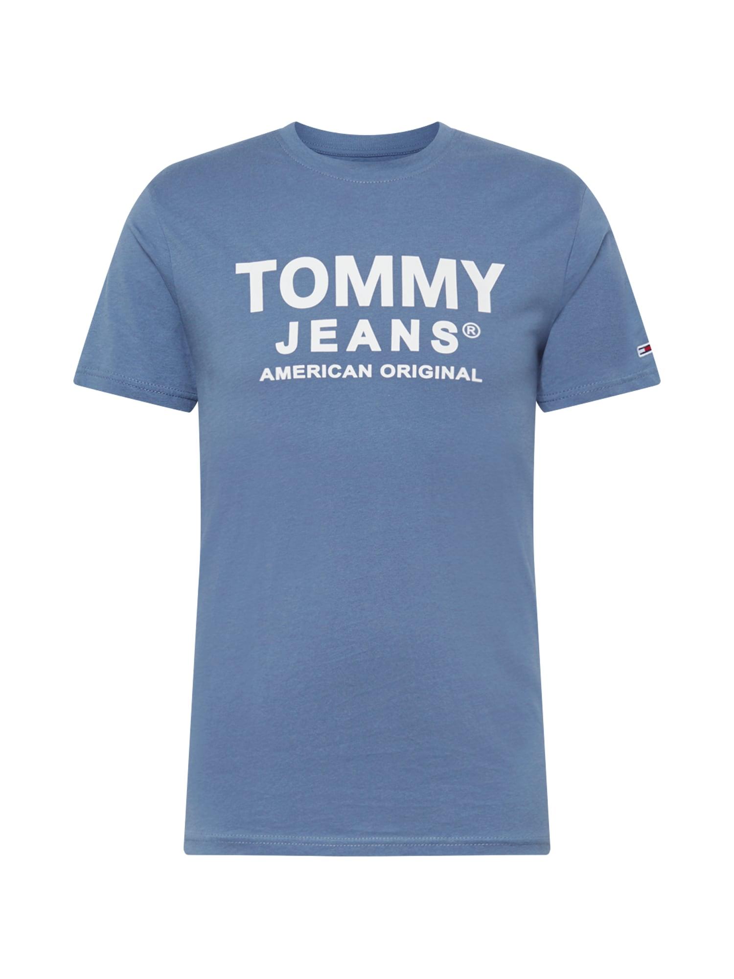 Tommy Jeans Tričko 'ESSENTIAL'  kouřově modrá / bílá