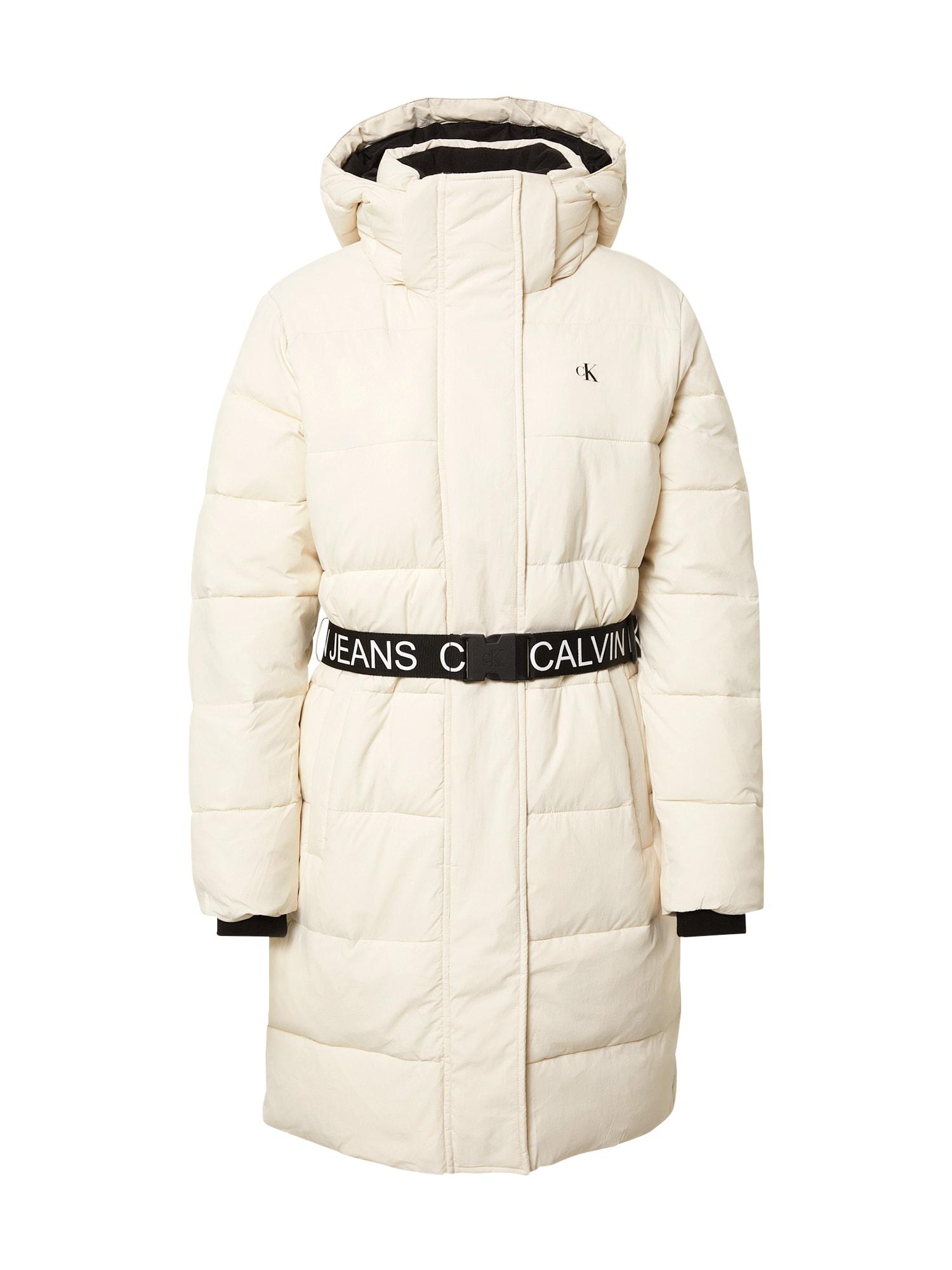 Calvin Klein Jeans Žieminis paltas balta / juoda
