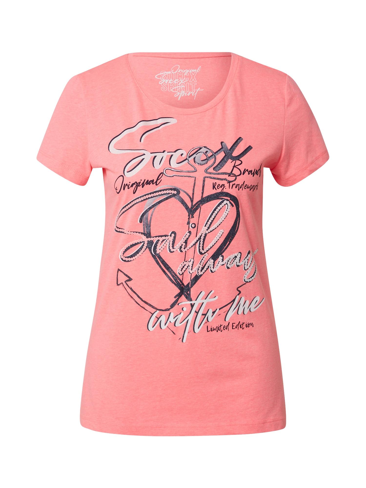 Soccx Marškinėliai rožinė / tamsiai pilka / balta