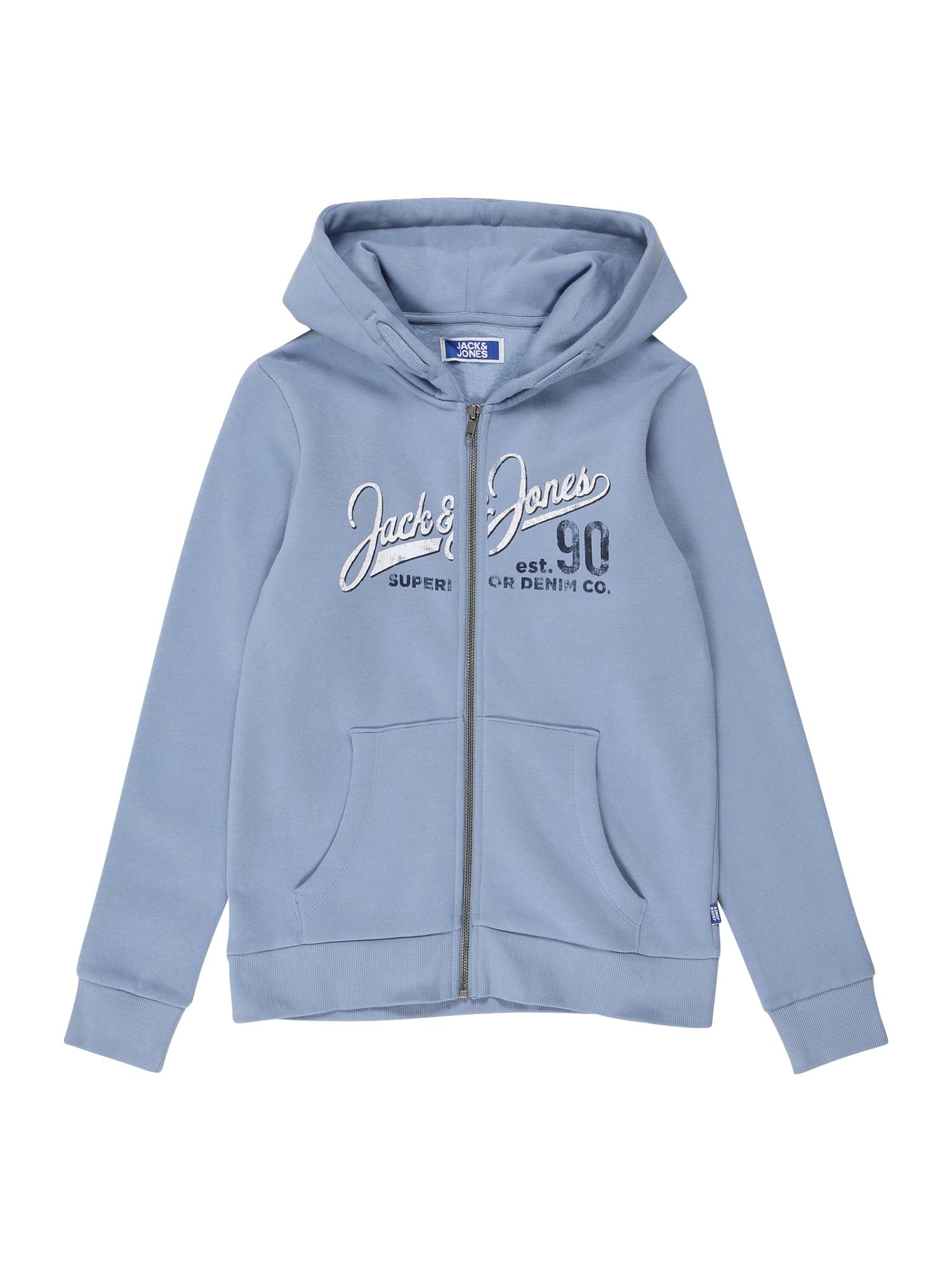 Jack & Jones Junior Džemperis mėlyna dūmų spalva / tamsiai mėlyna jūros spalva / balta