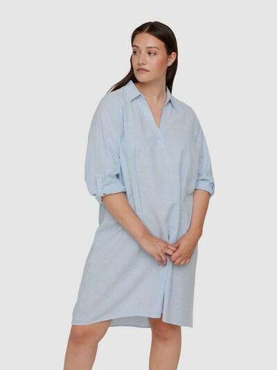 Kleid von Zizzi.  Schönes Kleid aus 100% Baumwolle mit gestreiftem Muster. Das Kleid hat lange Ärmel mit Applikationen zum hochkrempeln, einen tollen V-Ausschnitt mit Kragen sowie eine lockere und bequeme A-Linie.