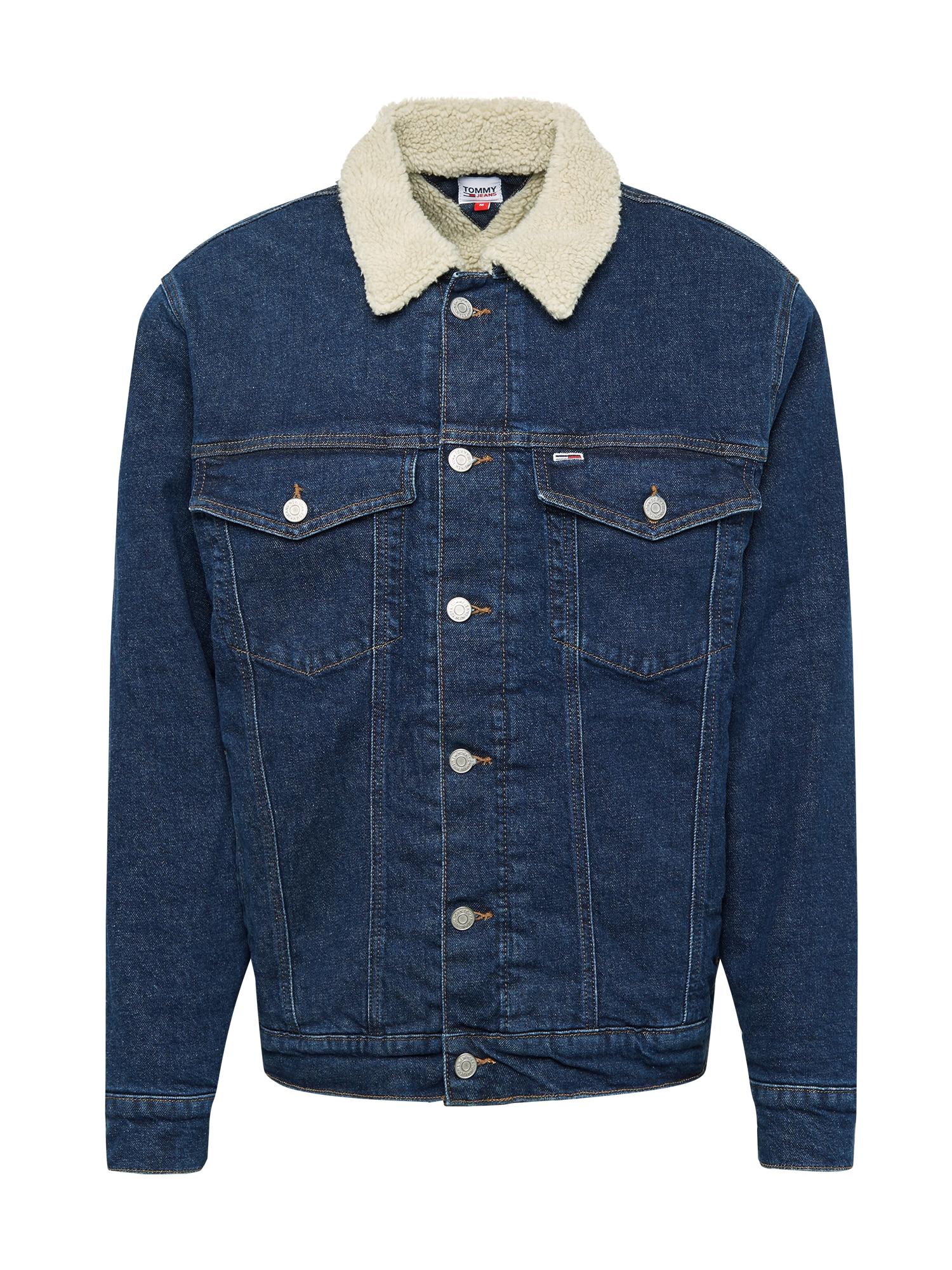 Tommy Jeans Demisezoninė striukė tamsiai (džinso) mėlyna / balta