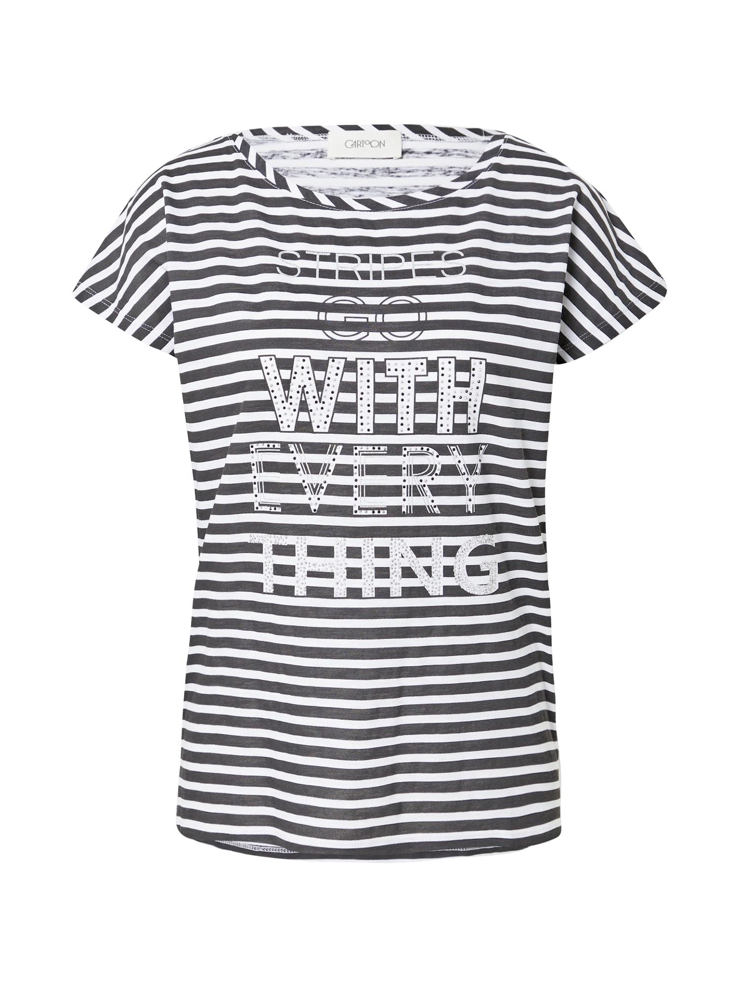 Cartoon Marškinėliai juoda / balta / sidabrinė